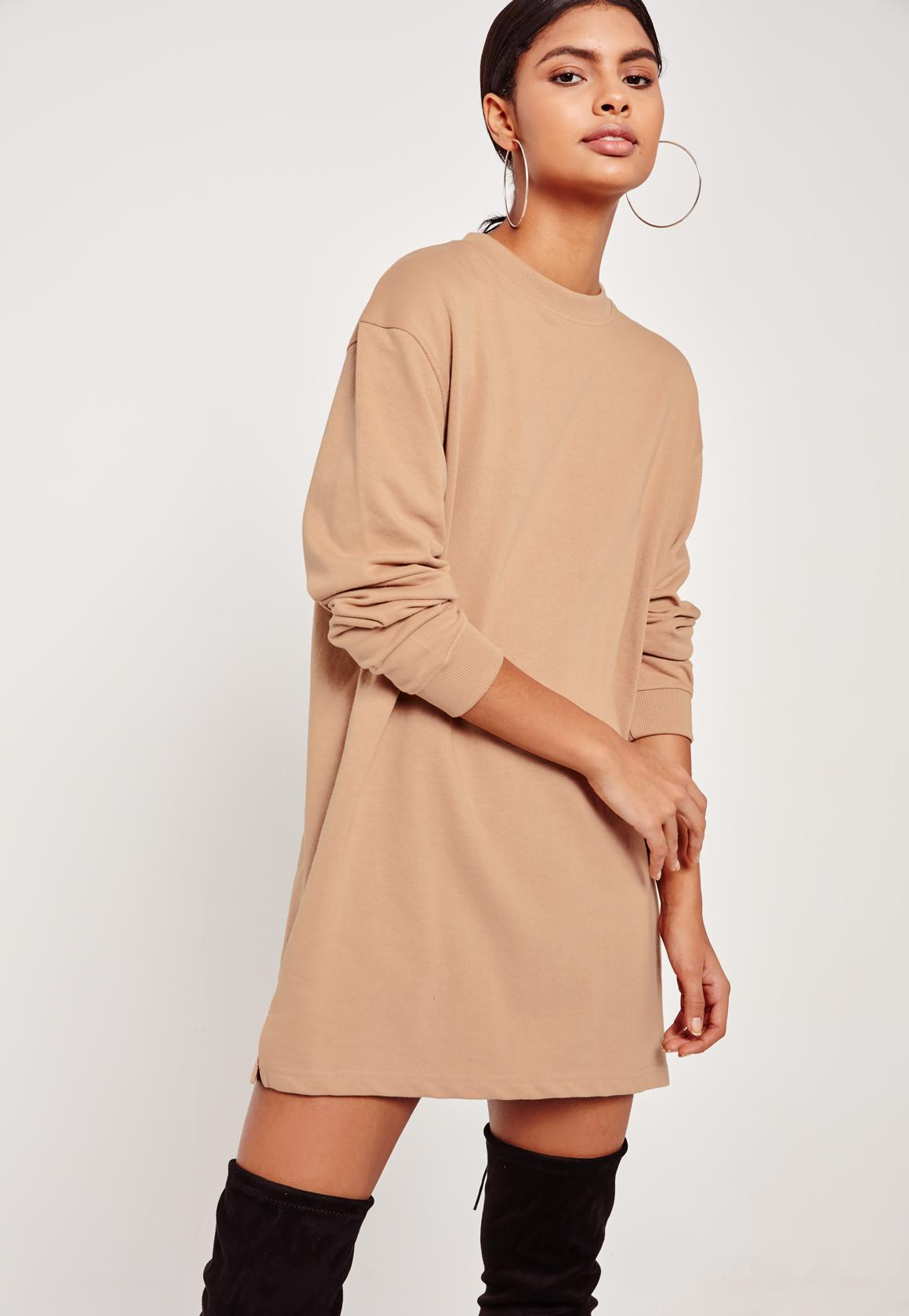 8abfb3d36b8 Missguided Nude Oversized Long Sleeve Sweater Dress in Blue - Lyst