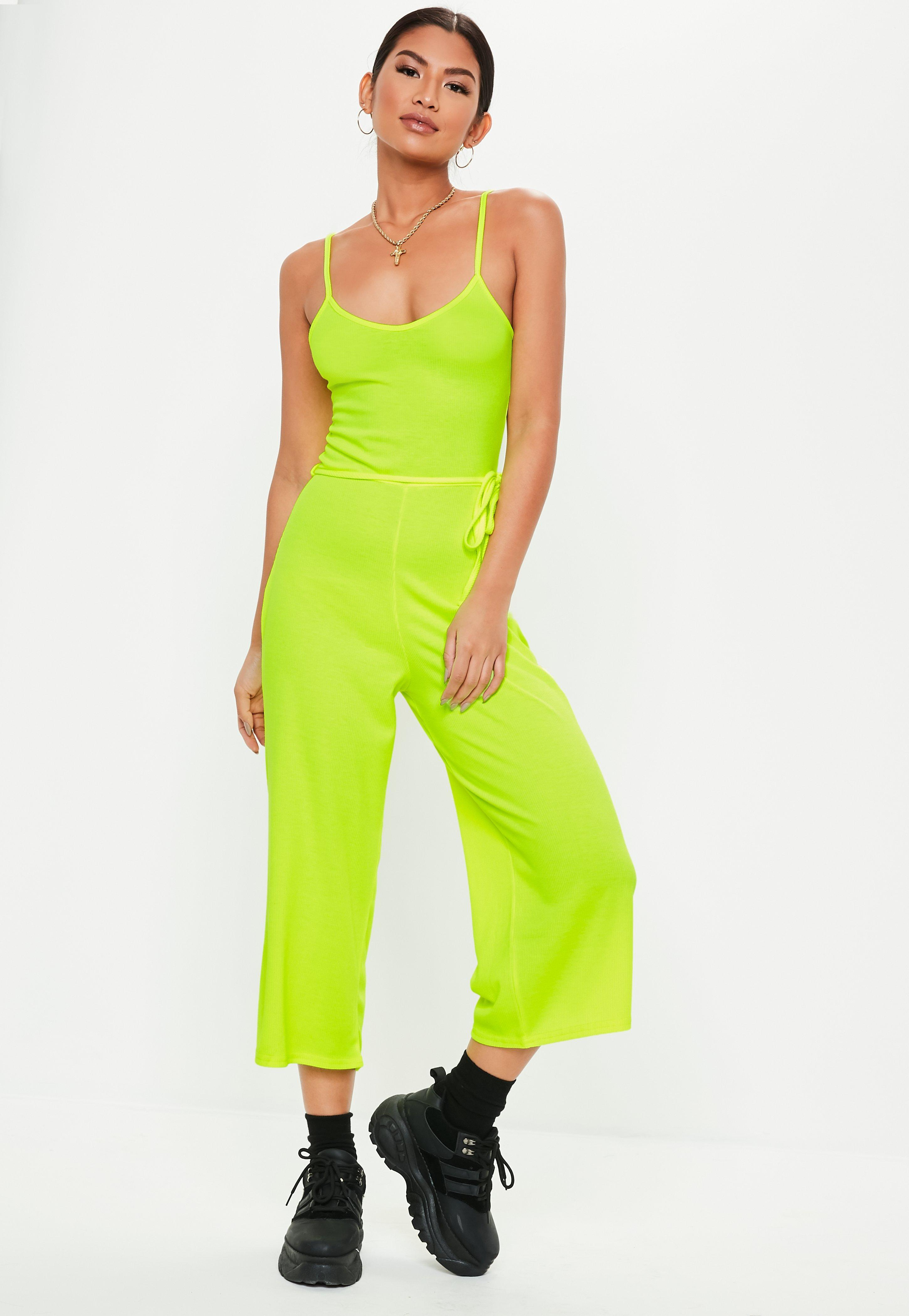 a88fa01956 Lyst - Missguided Neon Yellow Rib Cami Culotte Jumpsuit in Yellow