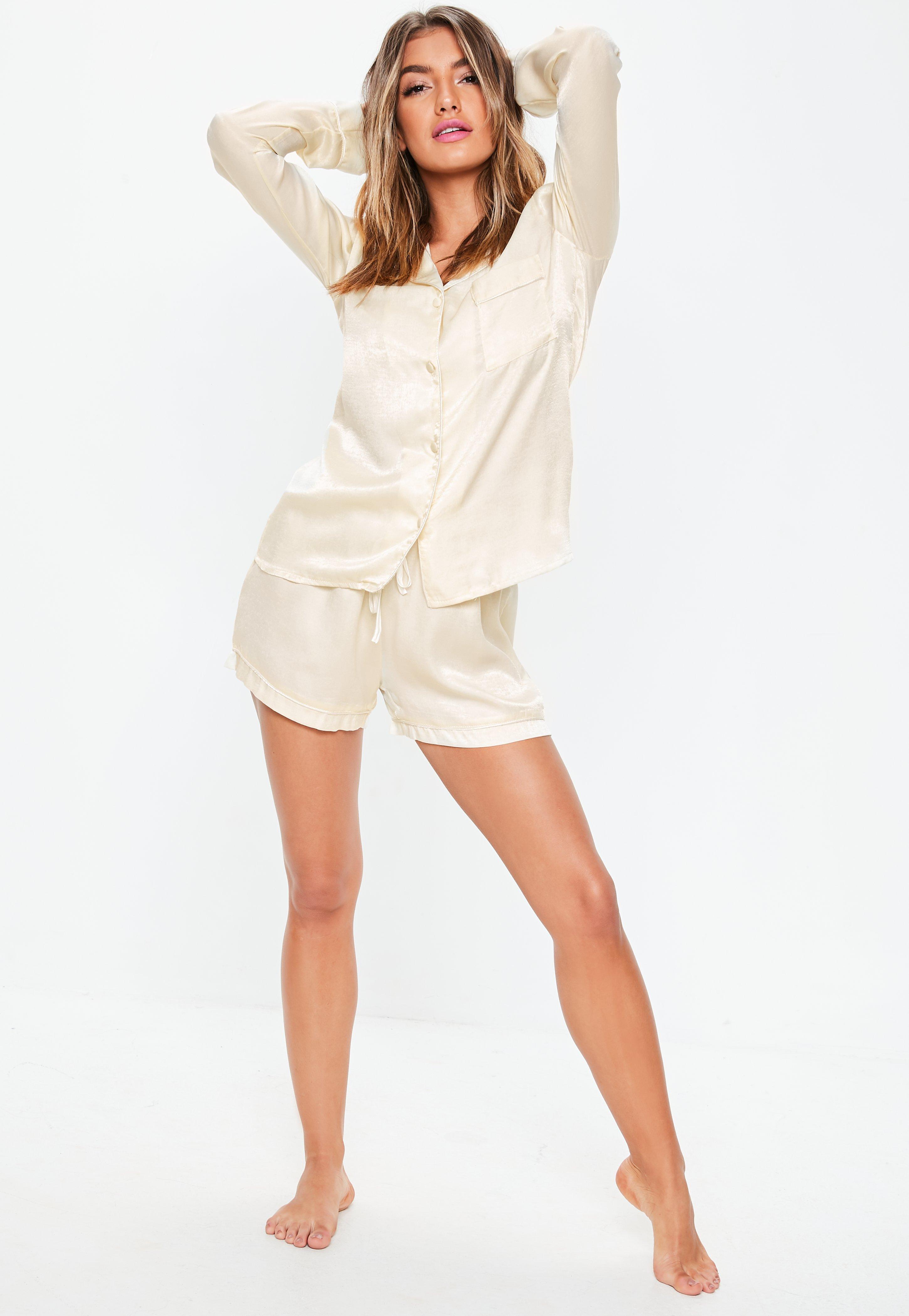 aac536fb4664 Missguided - Natural Cream Satin Long Sleeve Pyjama Set - Lyst. View  fullscreen