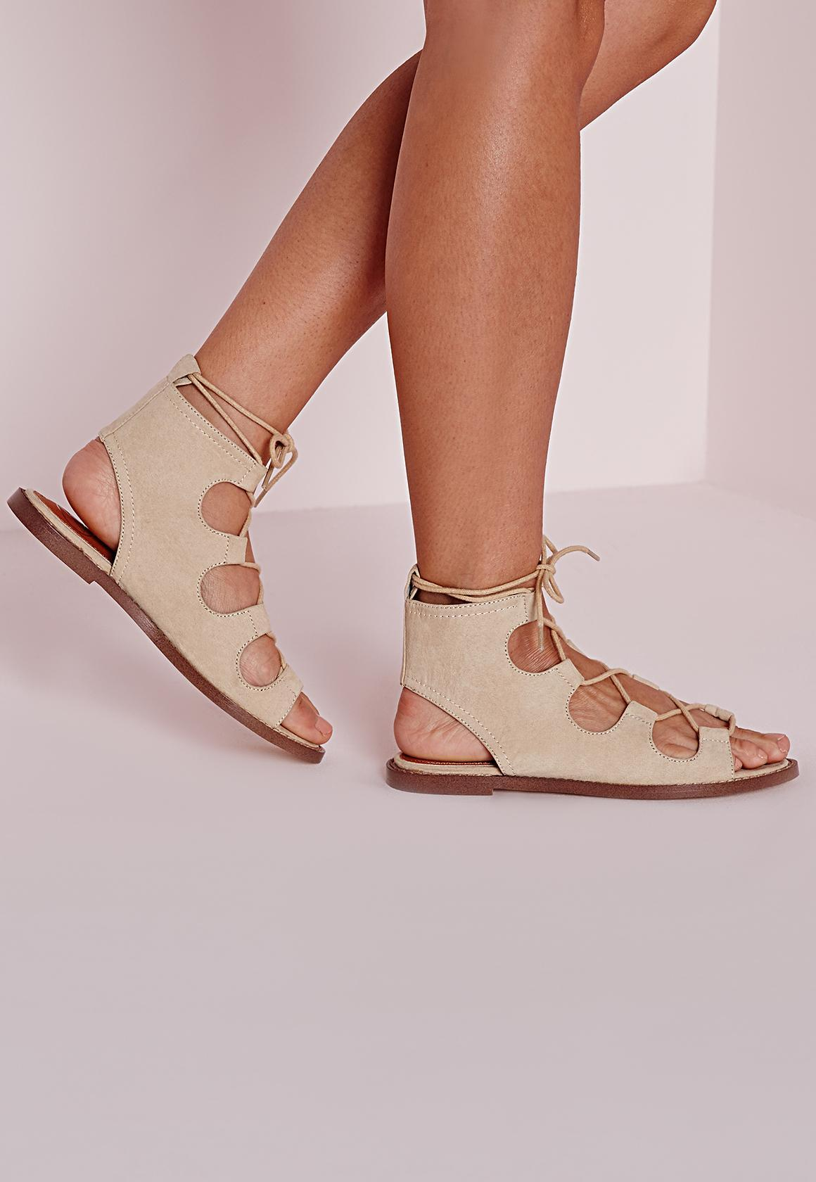 Missguided Nude Rounded Strap Gladiator Heeled Sandals in