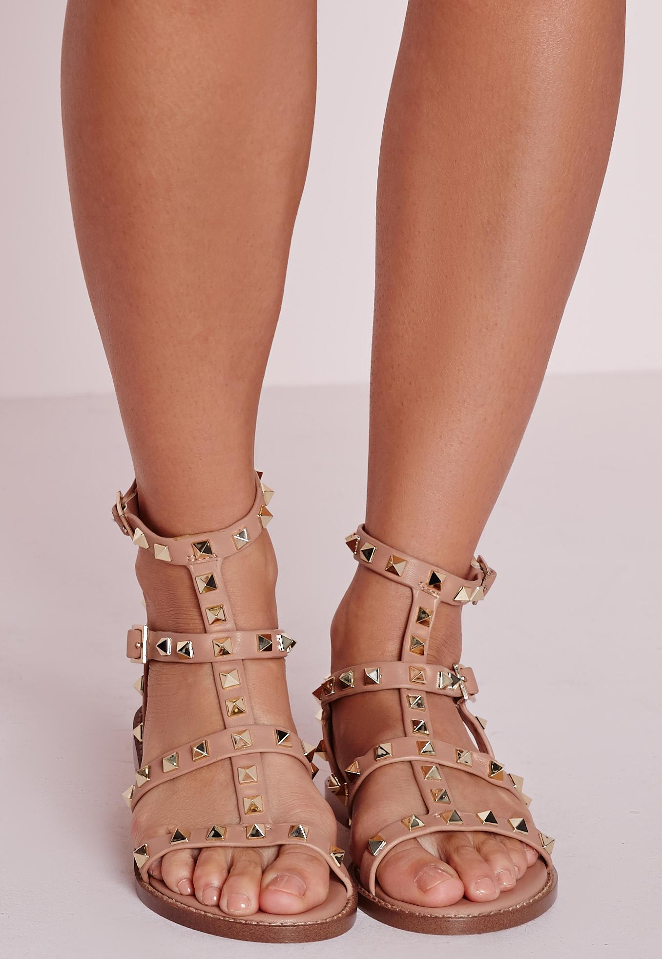 Lyst Missguided Studded Flat Gladiator Sandals Blush In Pink