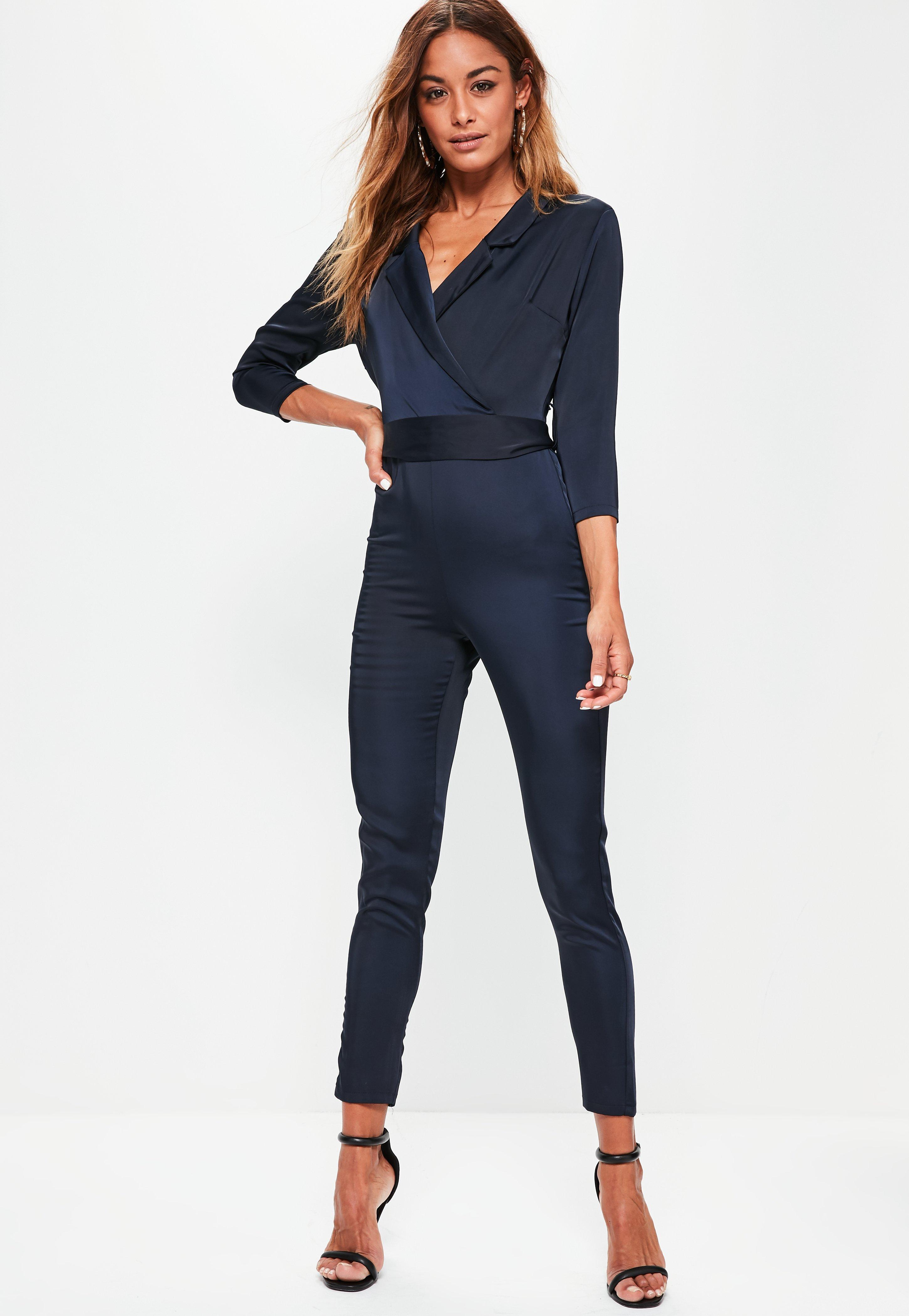 46965f30dd3 Lyst - Missguided Silky Wrap Shirt Jumpsuit Navy in Blue