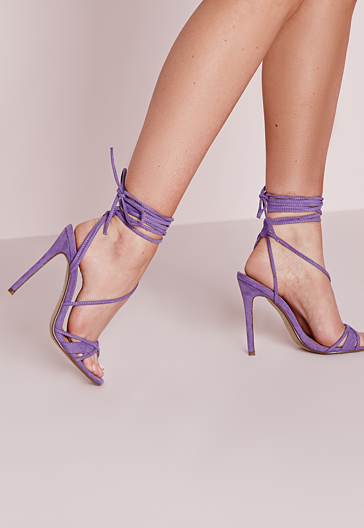 Missguided Cross Lace Up Barely There Heeled Sandals Lilac in ...