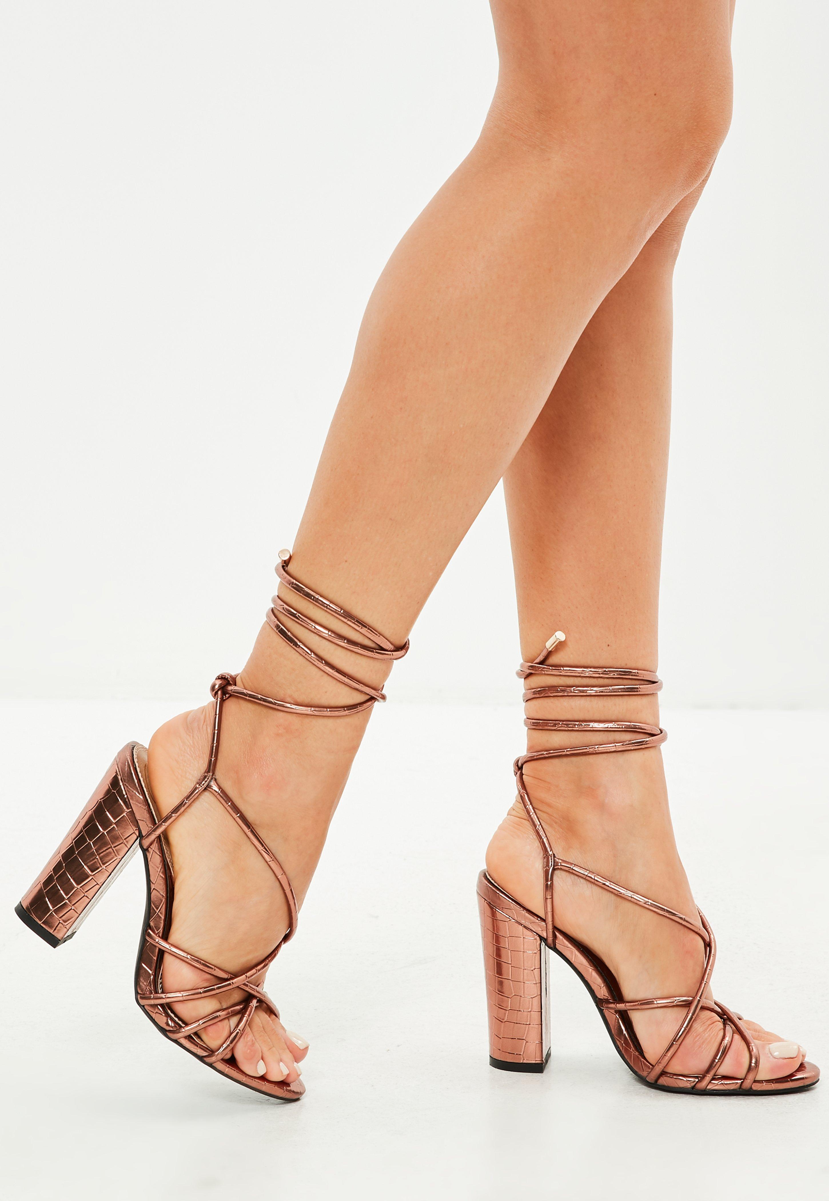 765dc207fe7 Missguided Bronze Multi Strap Block Heel Croc Effect Sandal - Lyst