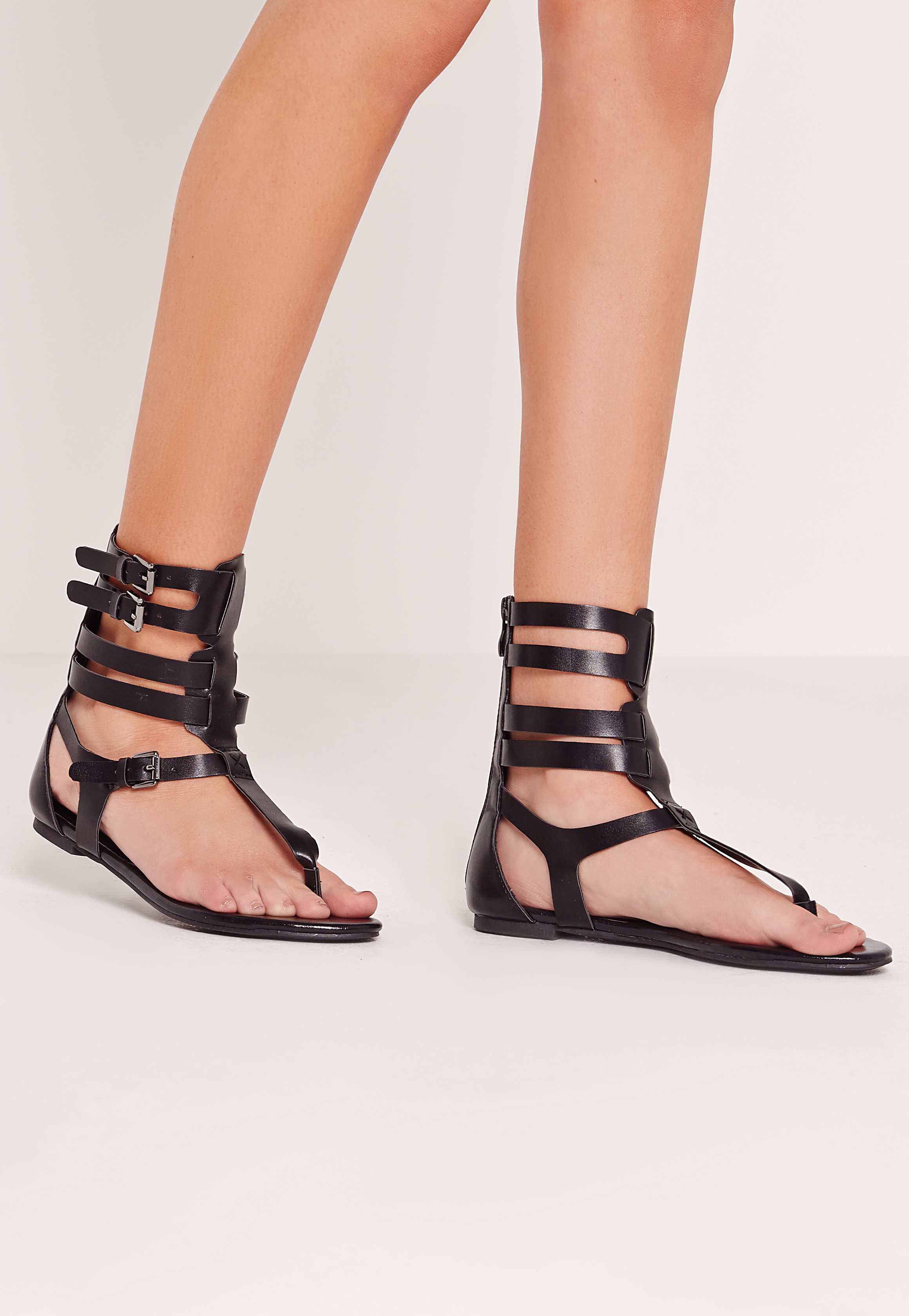Missguided Strappy Ankle Flat Gladiator Sandals Black in ...