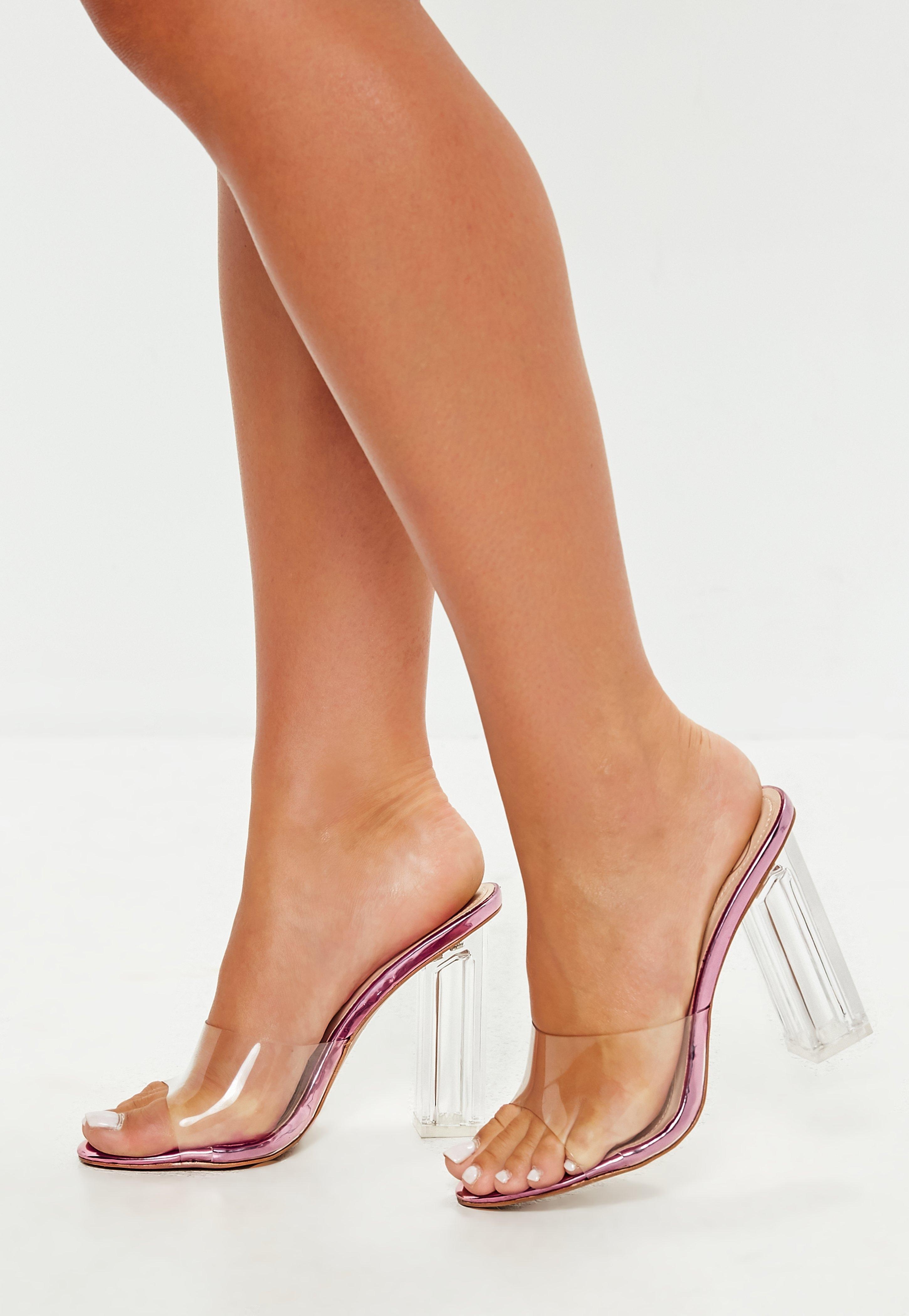 2329c9a37b1 Lyst - Missguided Pink Clear Block Heel Mules in Pink
