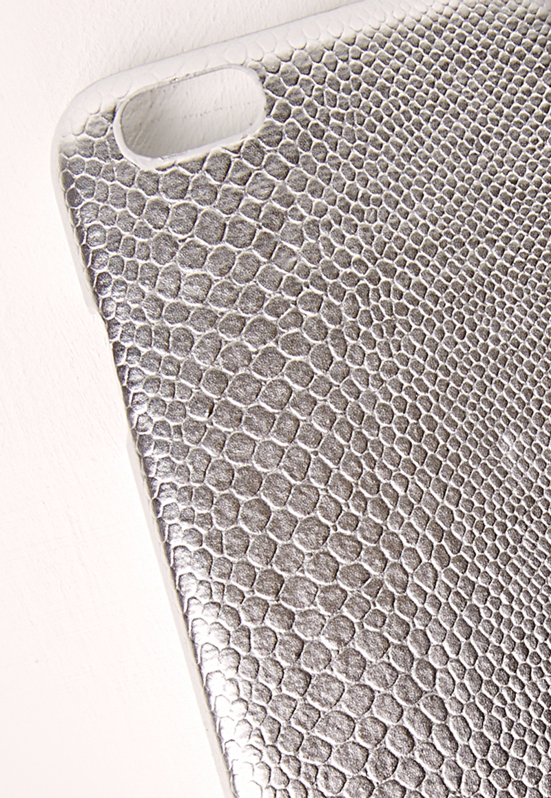 missguided silver snakeskin iphone 5 case in metallic lyst. Black Bedroom Furniture Sets. Home Design Ideas