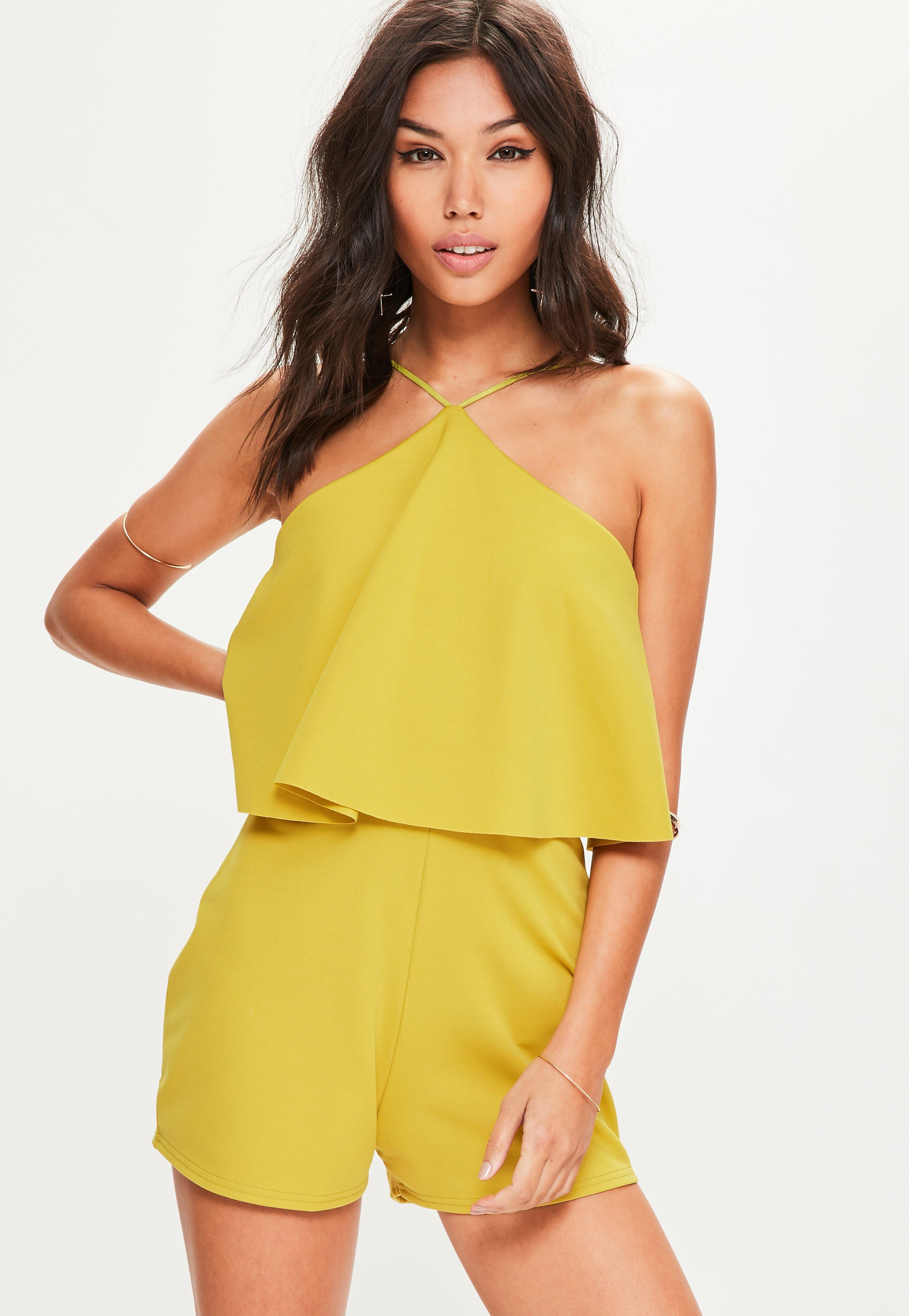 0a7943064cd Lyst - Missguided Yellow Scuba Halterneck Double Layer Romper in Yellow
