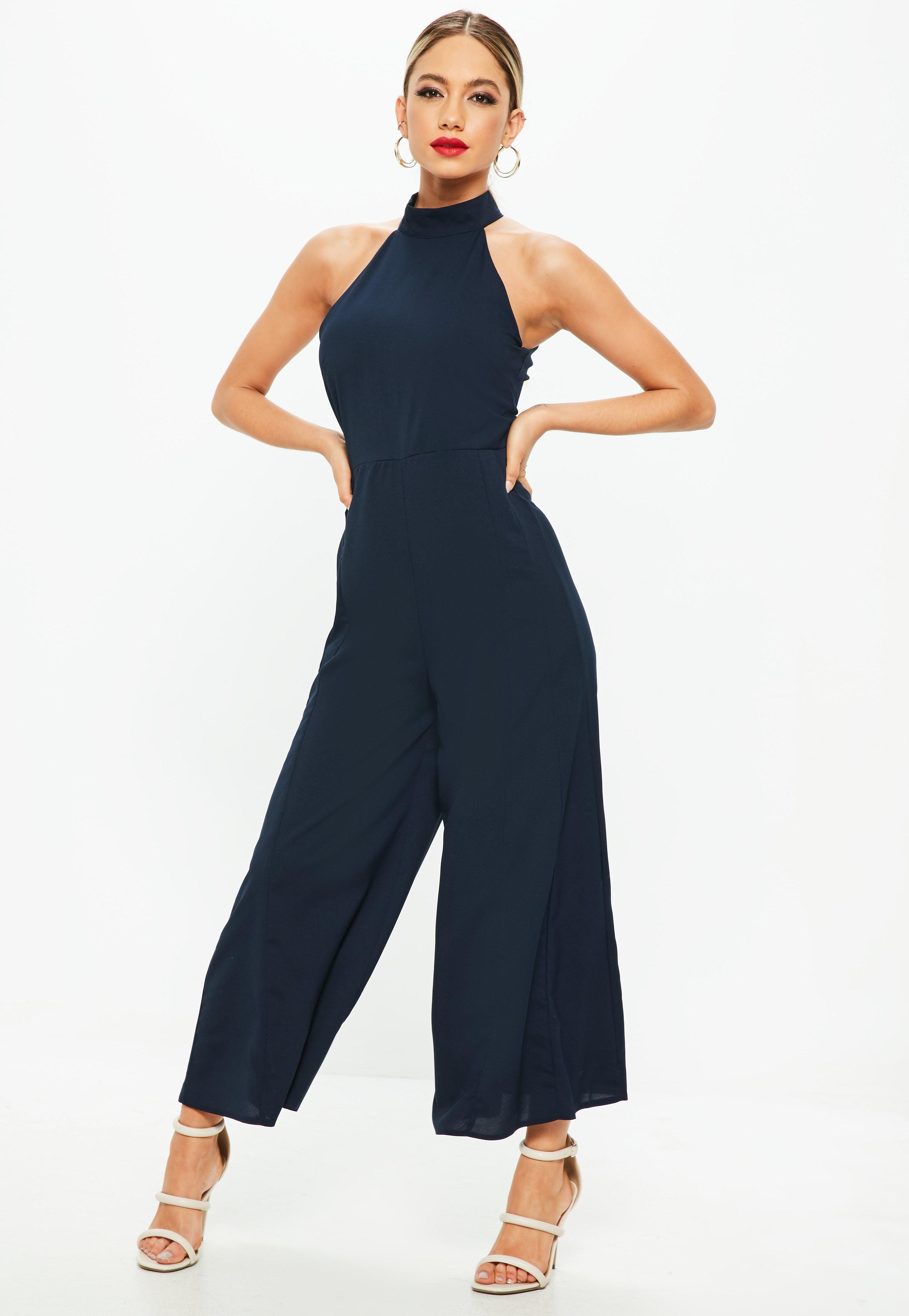 a49f5247fa6d Lyst - Missguided Navy High Neck Jumpsuit in Blue