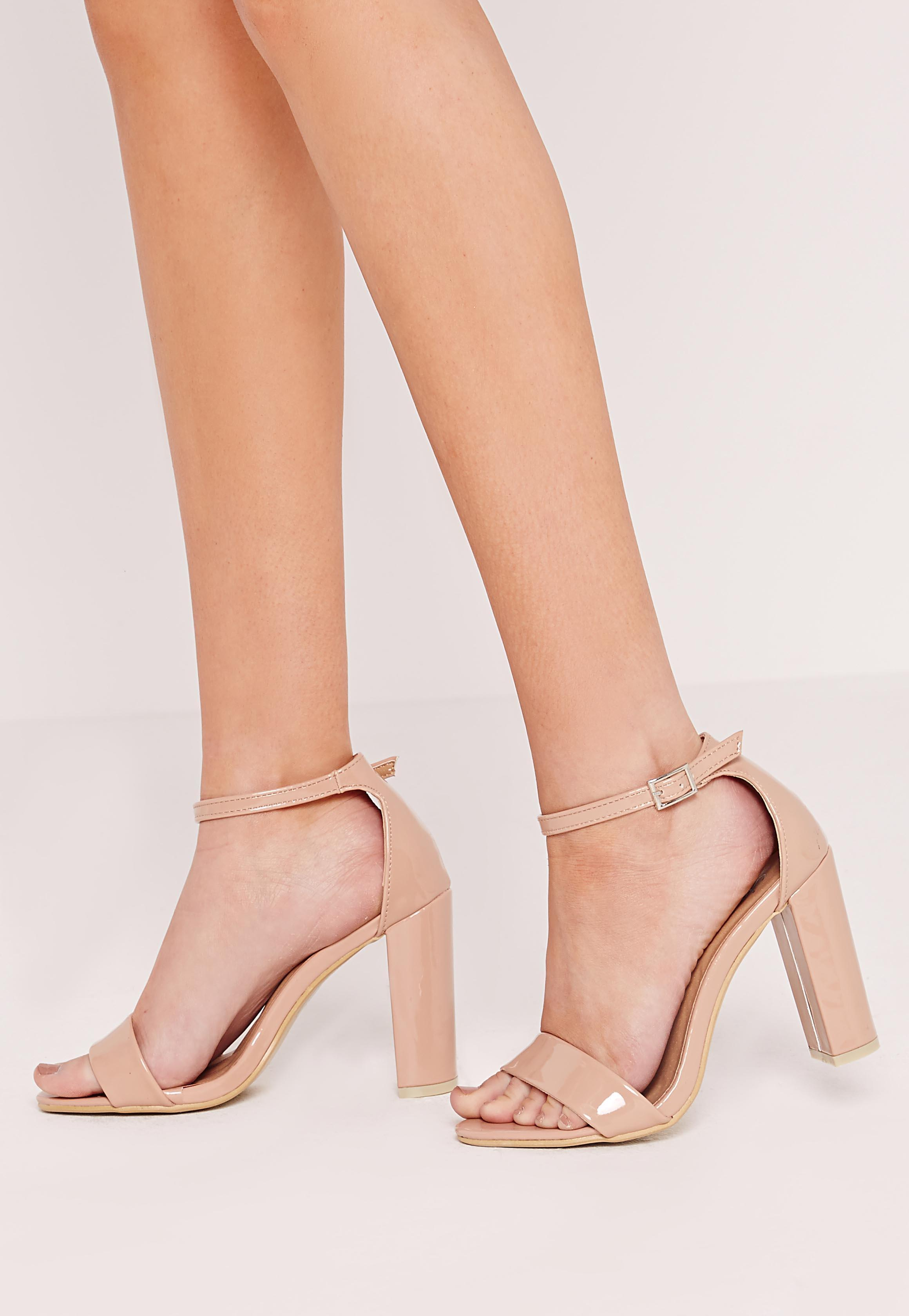 954924eae07 Lyst - Missguided Block Heel Thick Strap Barely There Sandals Nude ...