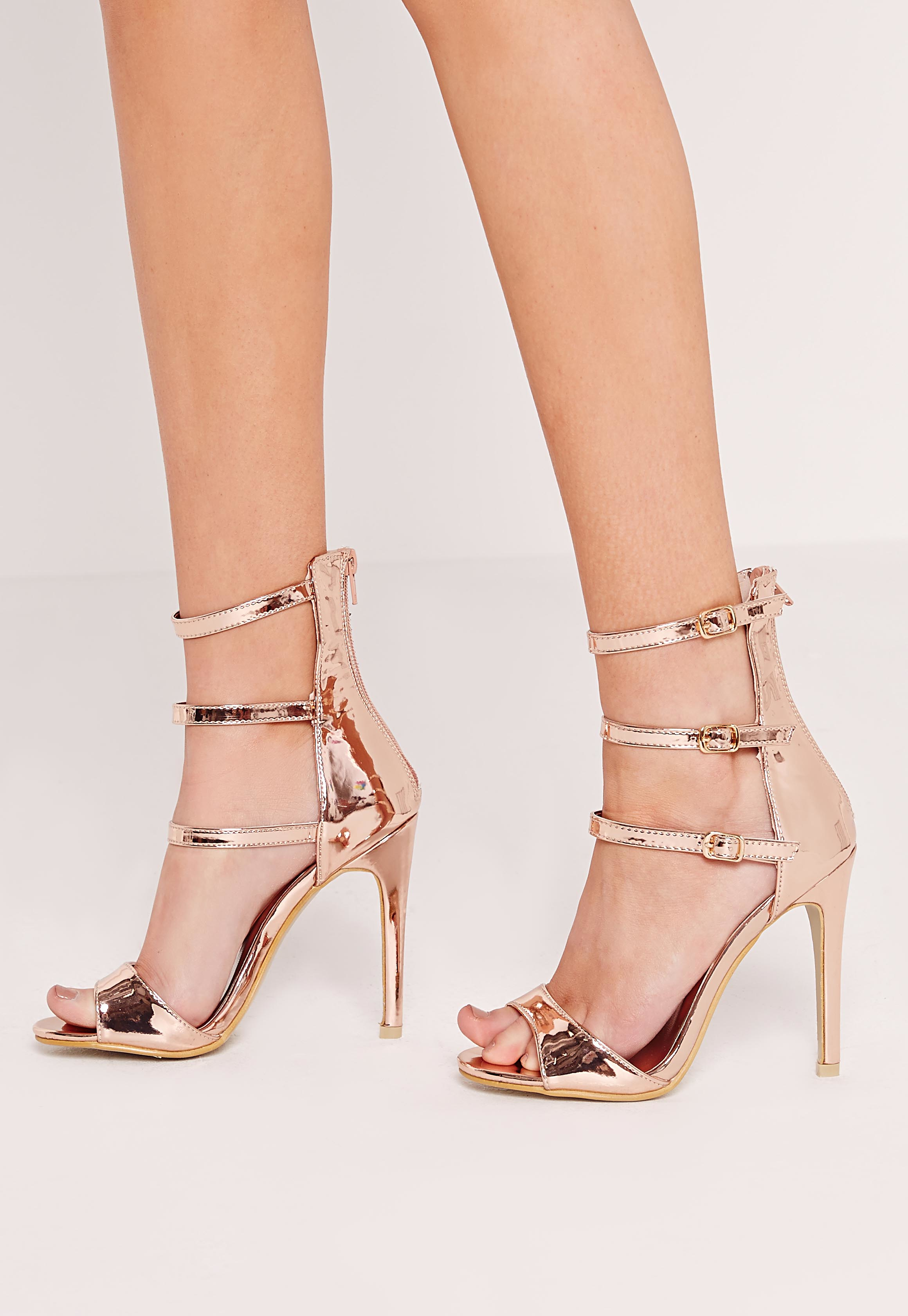 Lyst Missguided Rose Gold Buckle Three Strap Barely