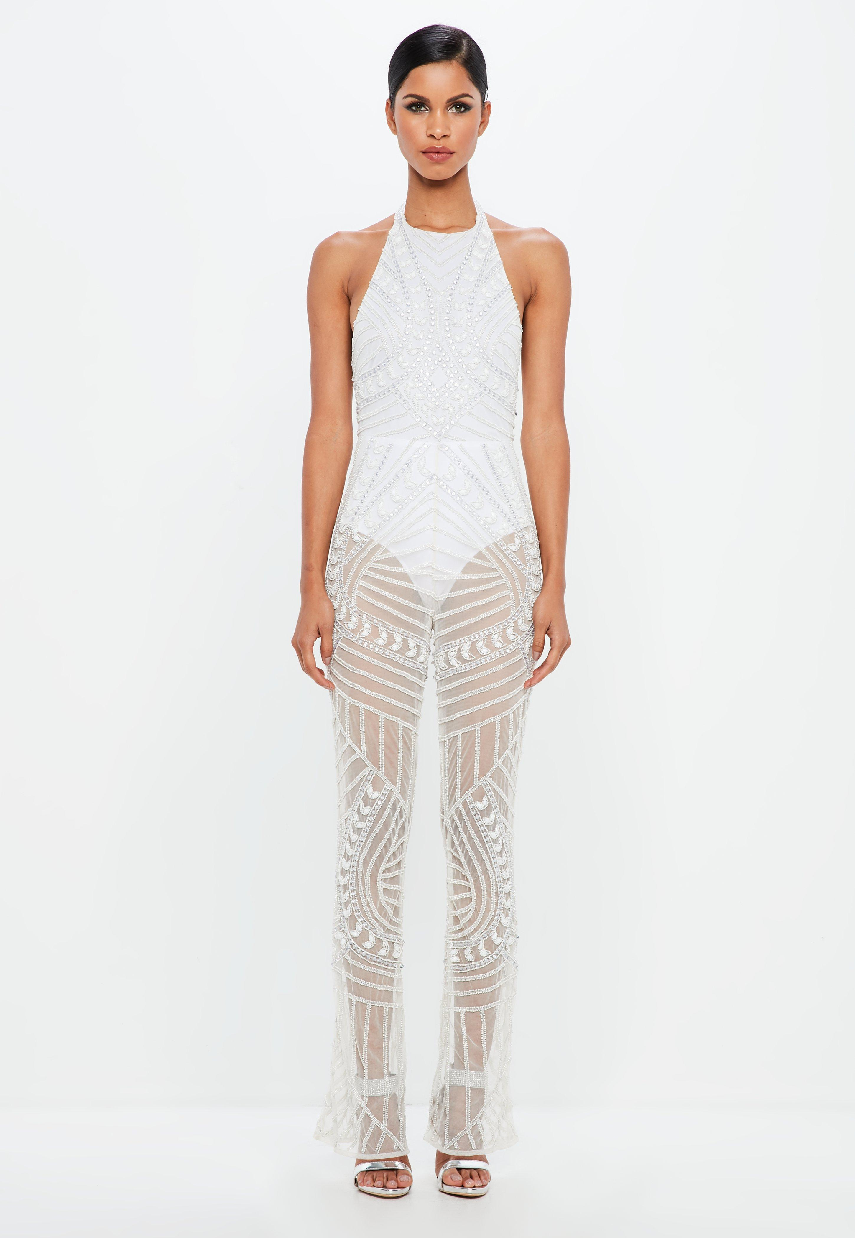 9632c5b4a5a6 Lyst - Missguided Peace + Love White Halterneck Embellished Jumpsuit ...
