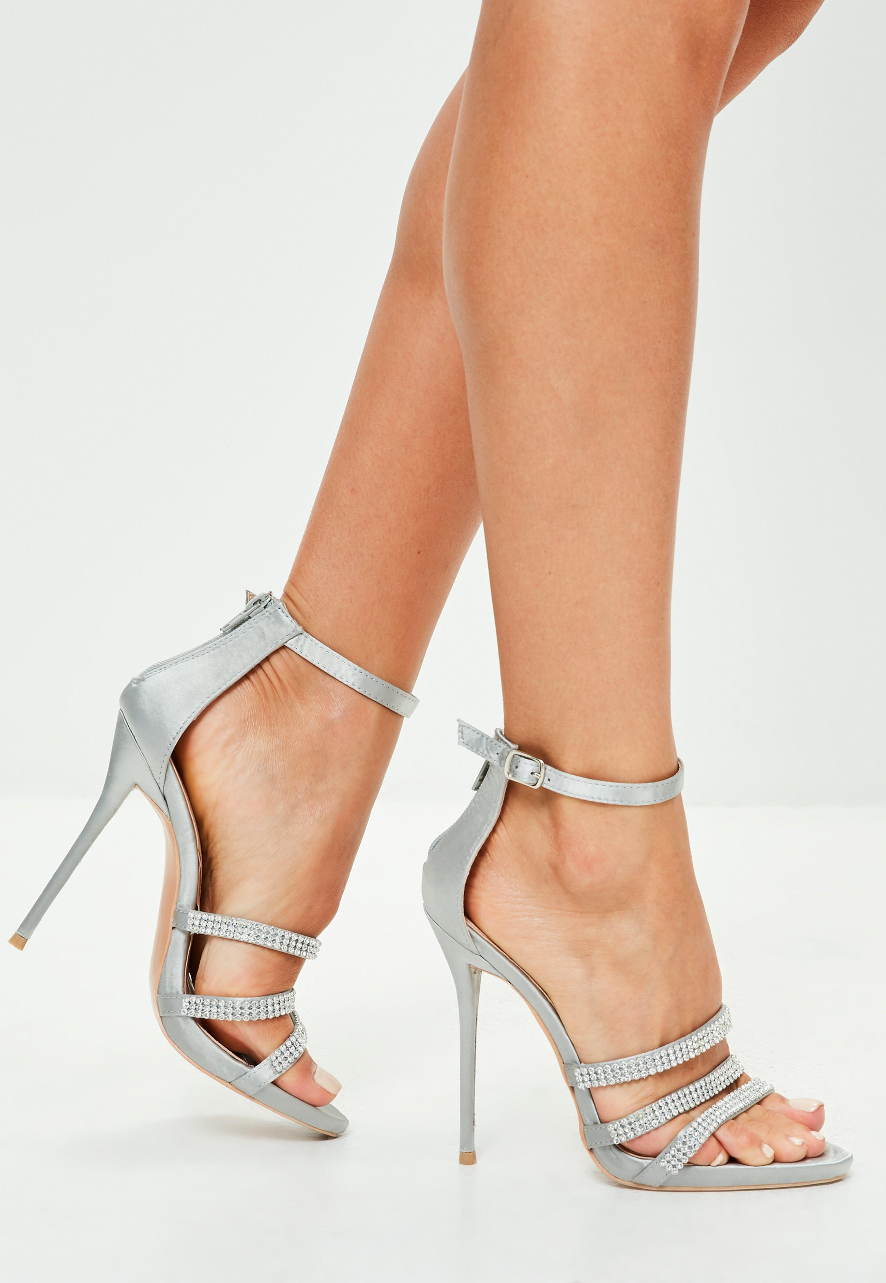 Silver Short High Heel Shoes