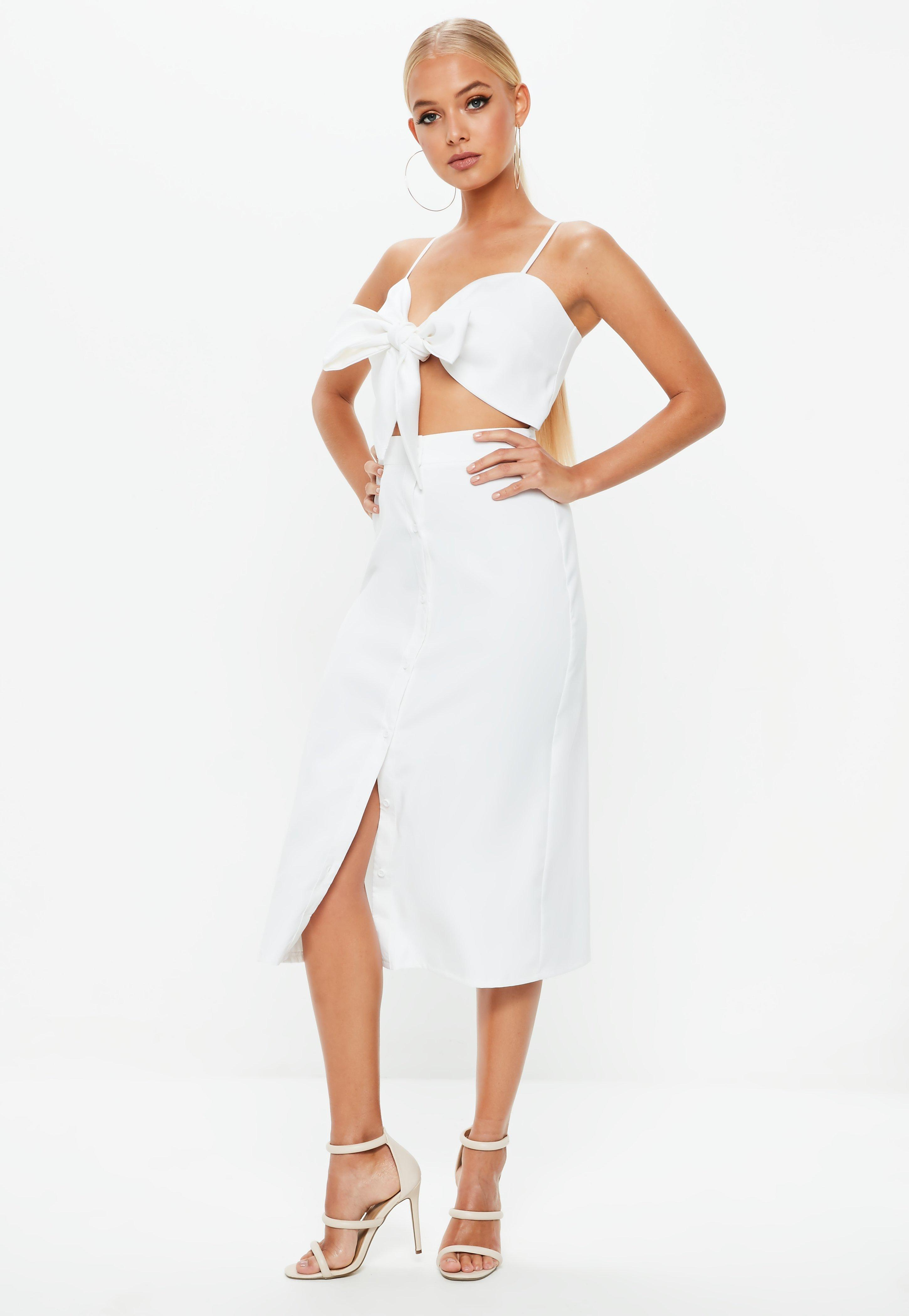 407aa0783bc3 Missguided - White Tie Front Button Down Strappy Midi Dress - Lyst. View  fullscreen