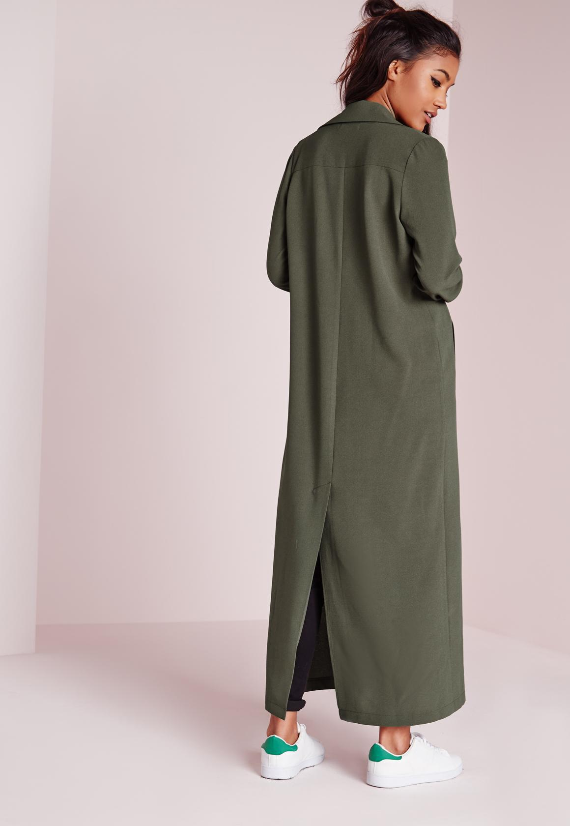 04fa5f1c62 Missguided Long Sleeve Maxi Duster Jacket Khaki in Natural - Lyst