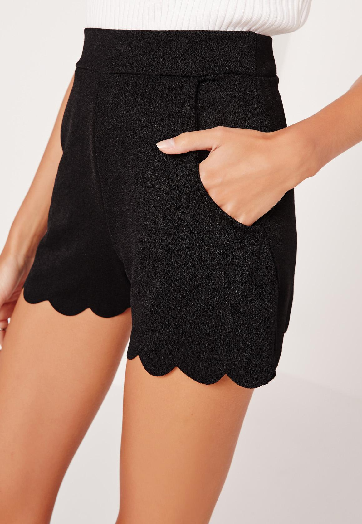 These Chic Scalloped Hem Shorts Is A Must Have To Add To Your Wardrobe. These Shorts Feature A Large Bow Belt And Would Look Look Fabulous With Your Favorite Crop Top Or Tank.