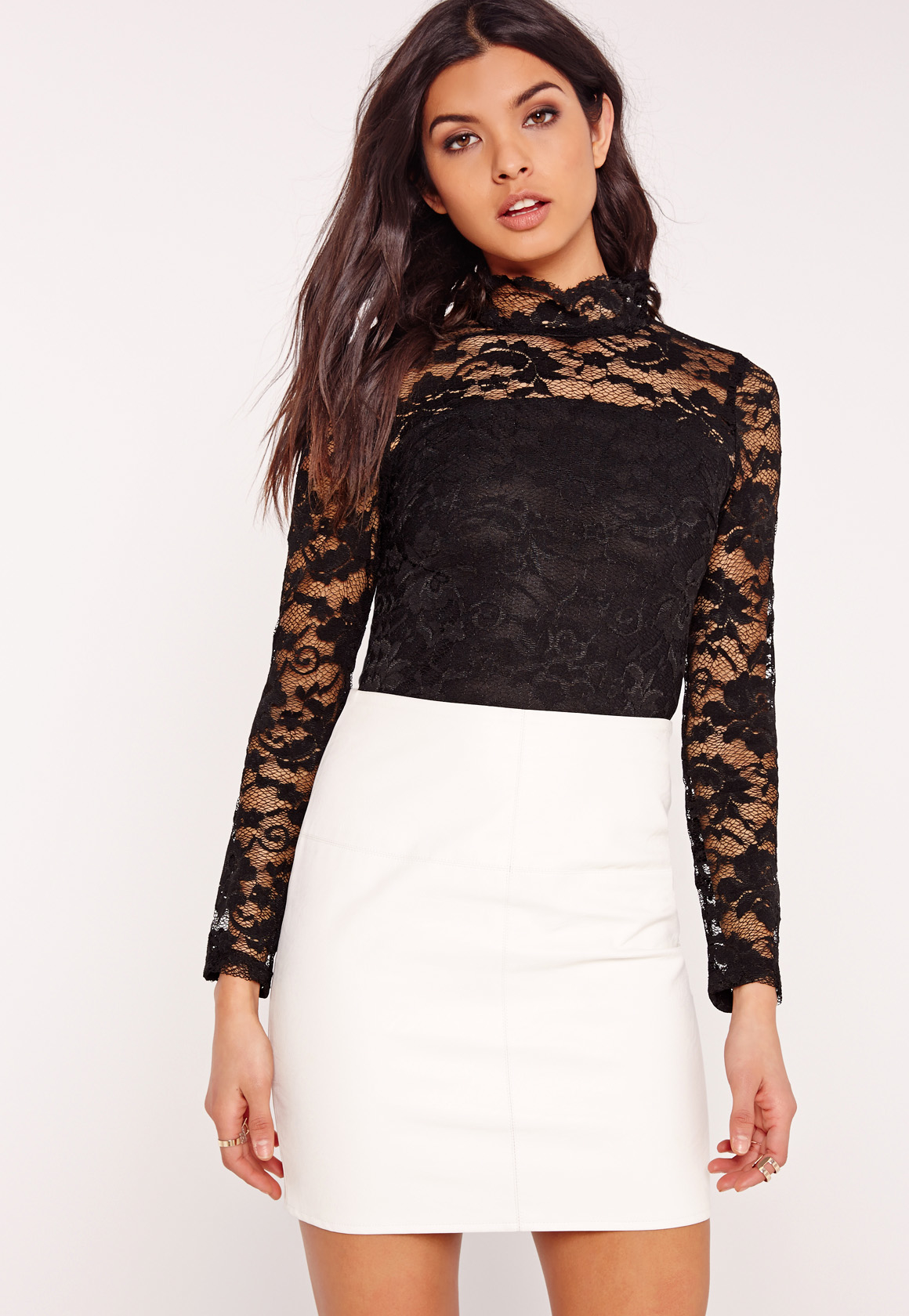 Lyst - Missguided High Neck Lace Long Sleeve Bodysuit ...