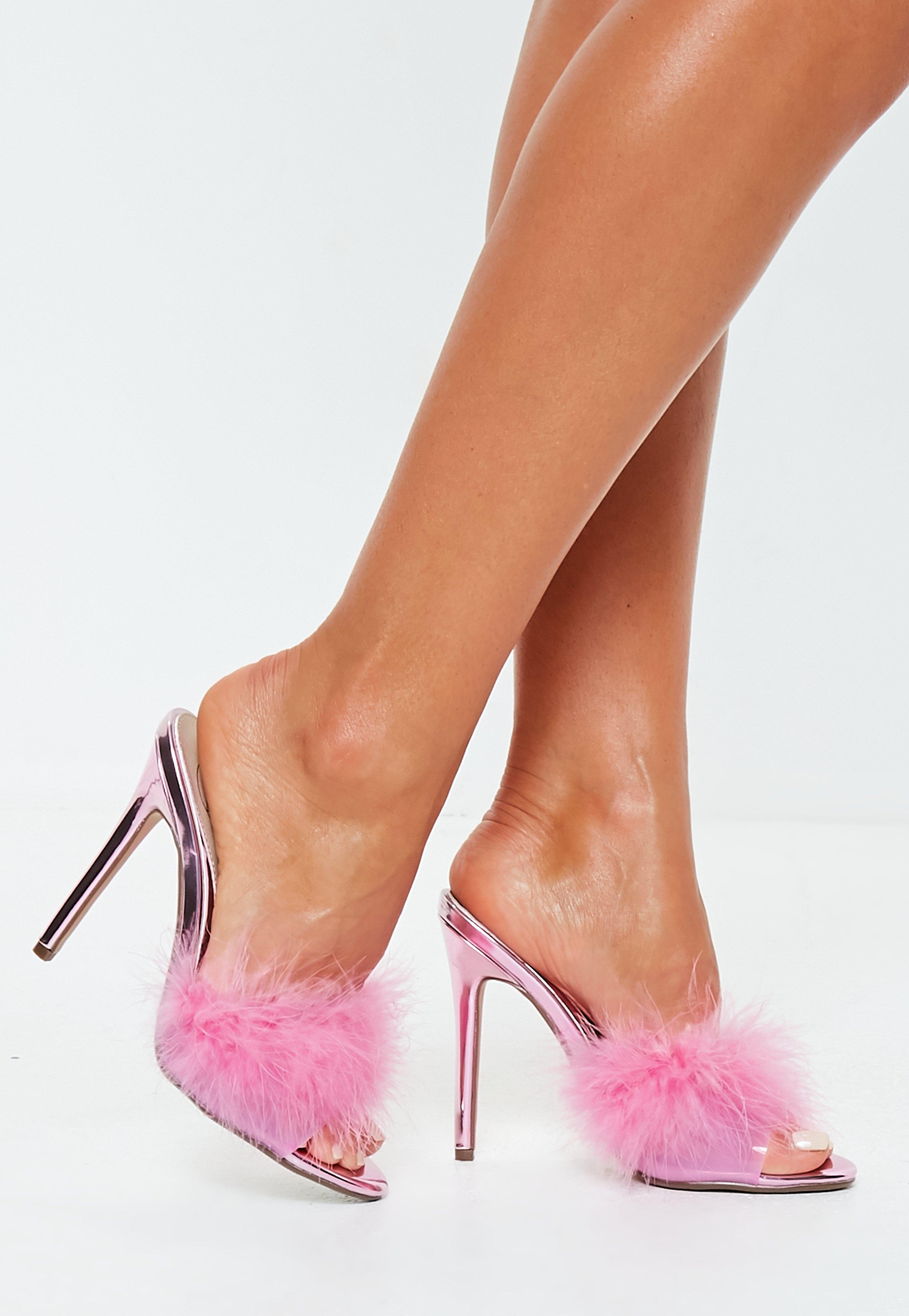 4cc38e17121 Lyst - Missguided Pink Feather Vamp Clear Mules in Pink
