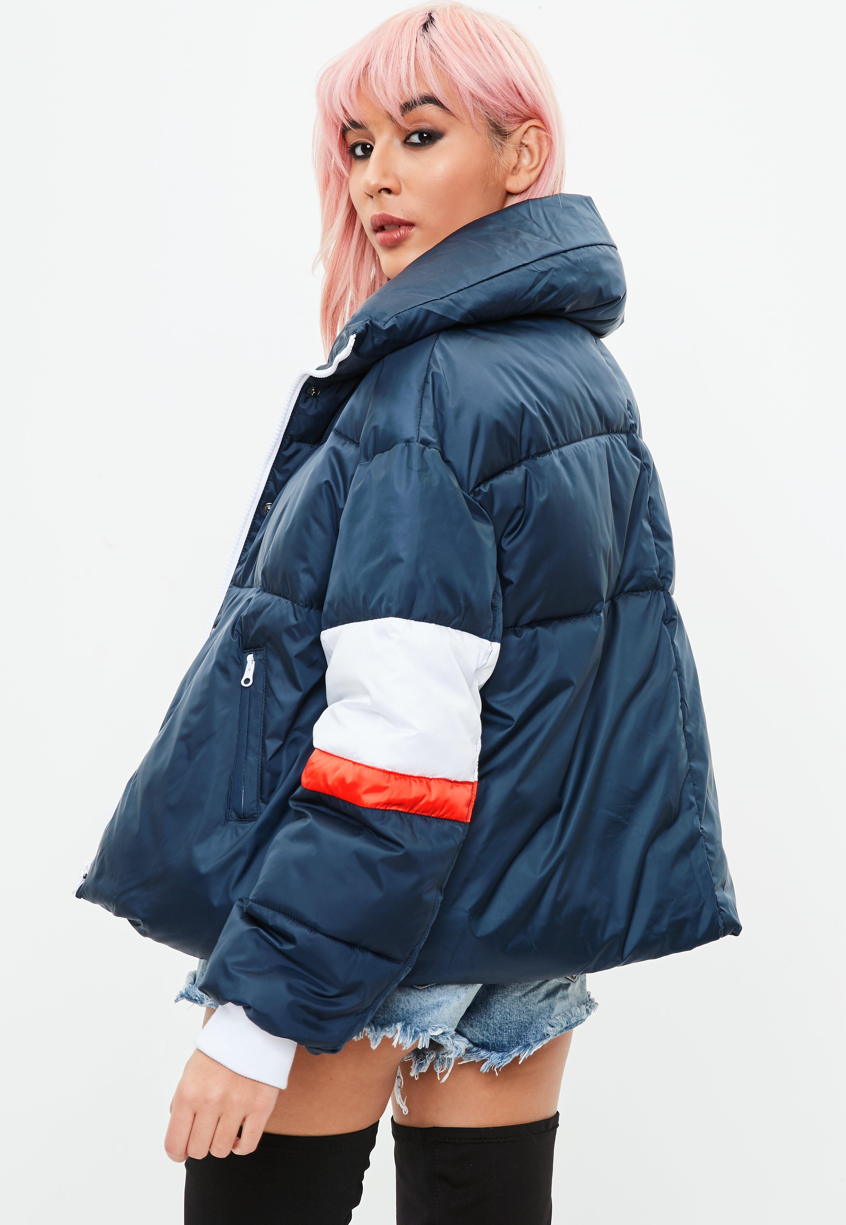 1575ac6b5 Lyst - Missguided Tall Navy Striped Bubble Padded Jacket in Blue