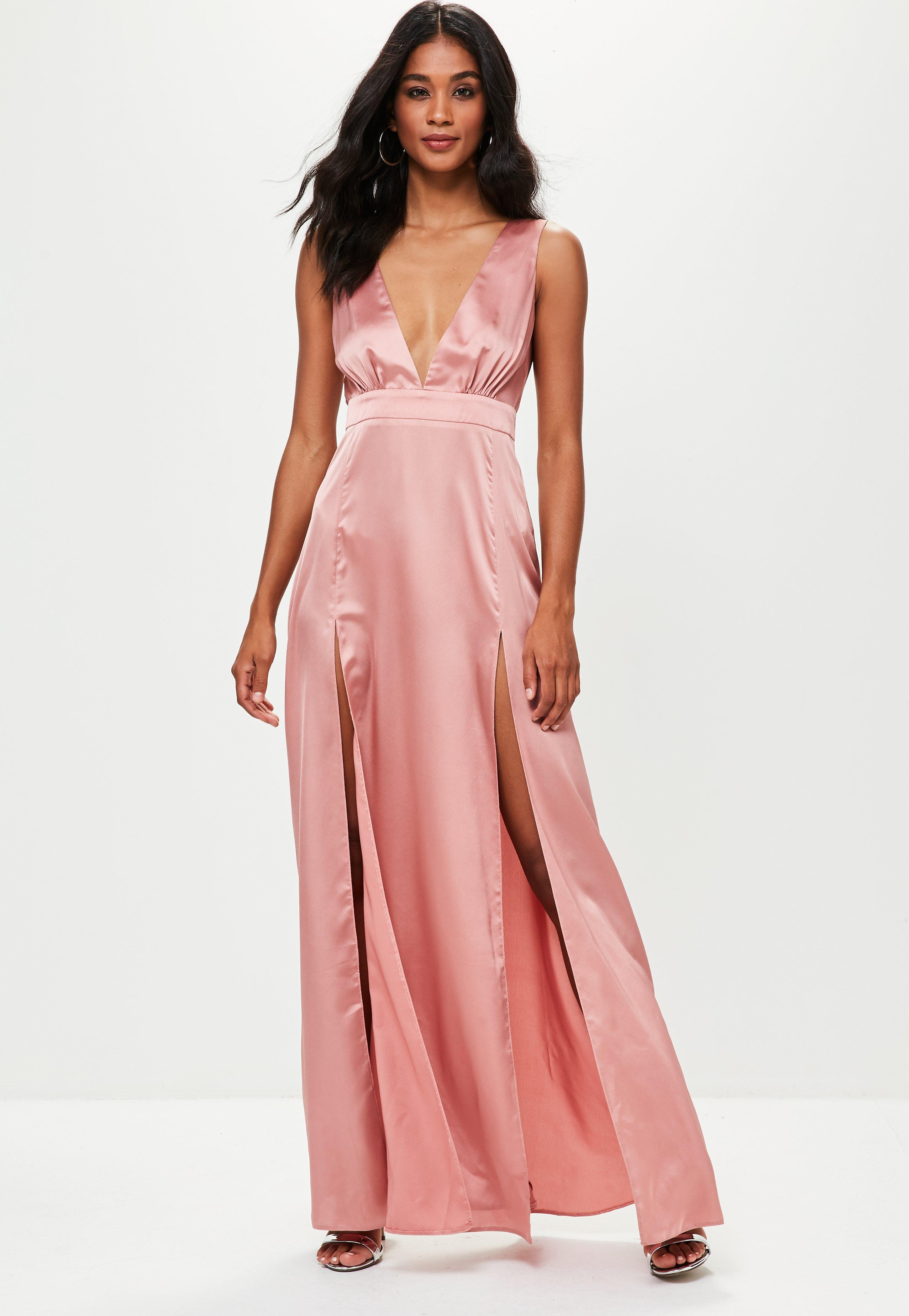 Missguided Pink Plunge Double Split Front Satin Maxi Dress in Pink ... 2ac91fd55