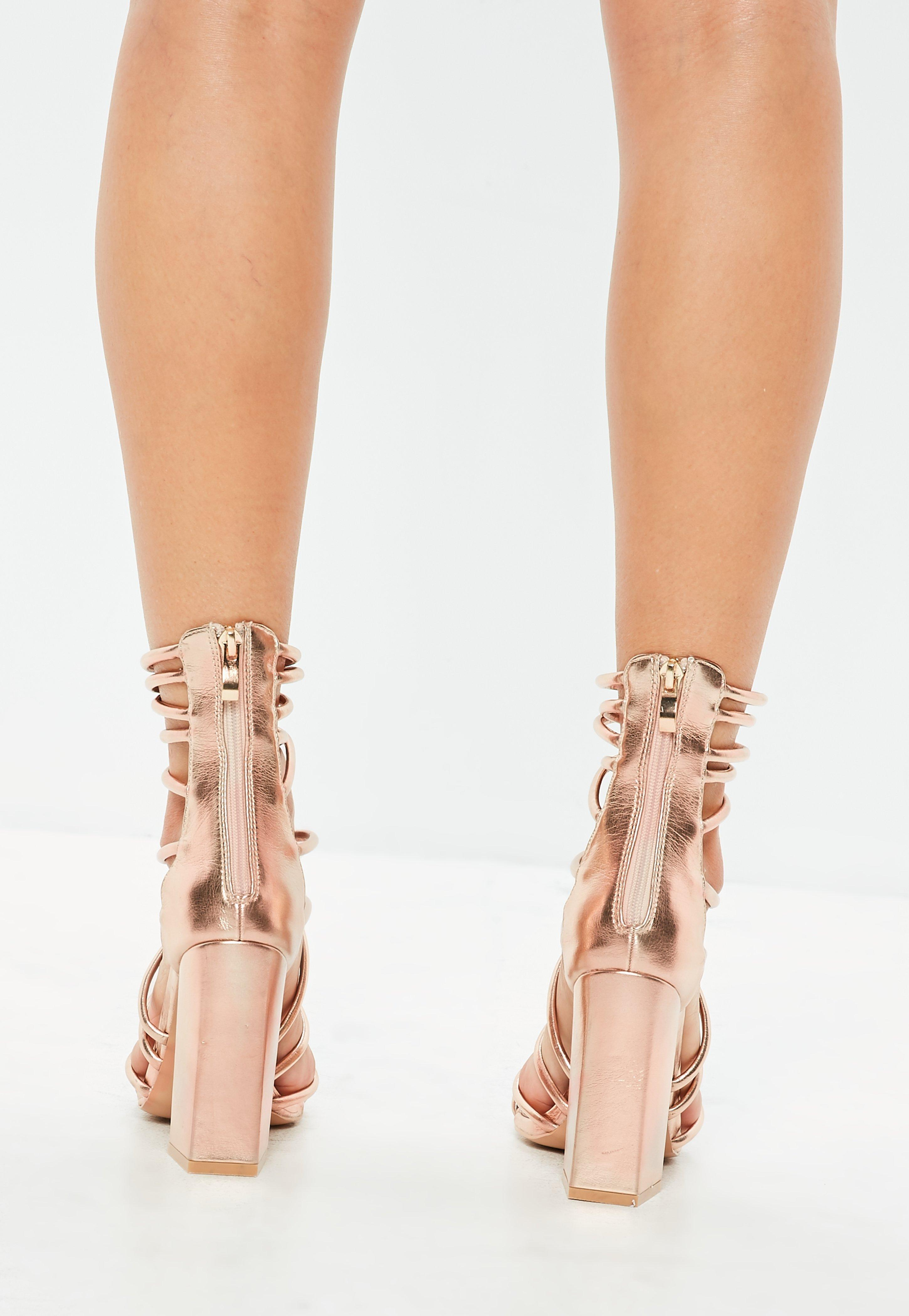 ccd864970a45 Lyst - Missguided Rose Gold Metallic Flared Block Heel Strappy ...