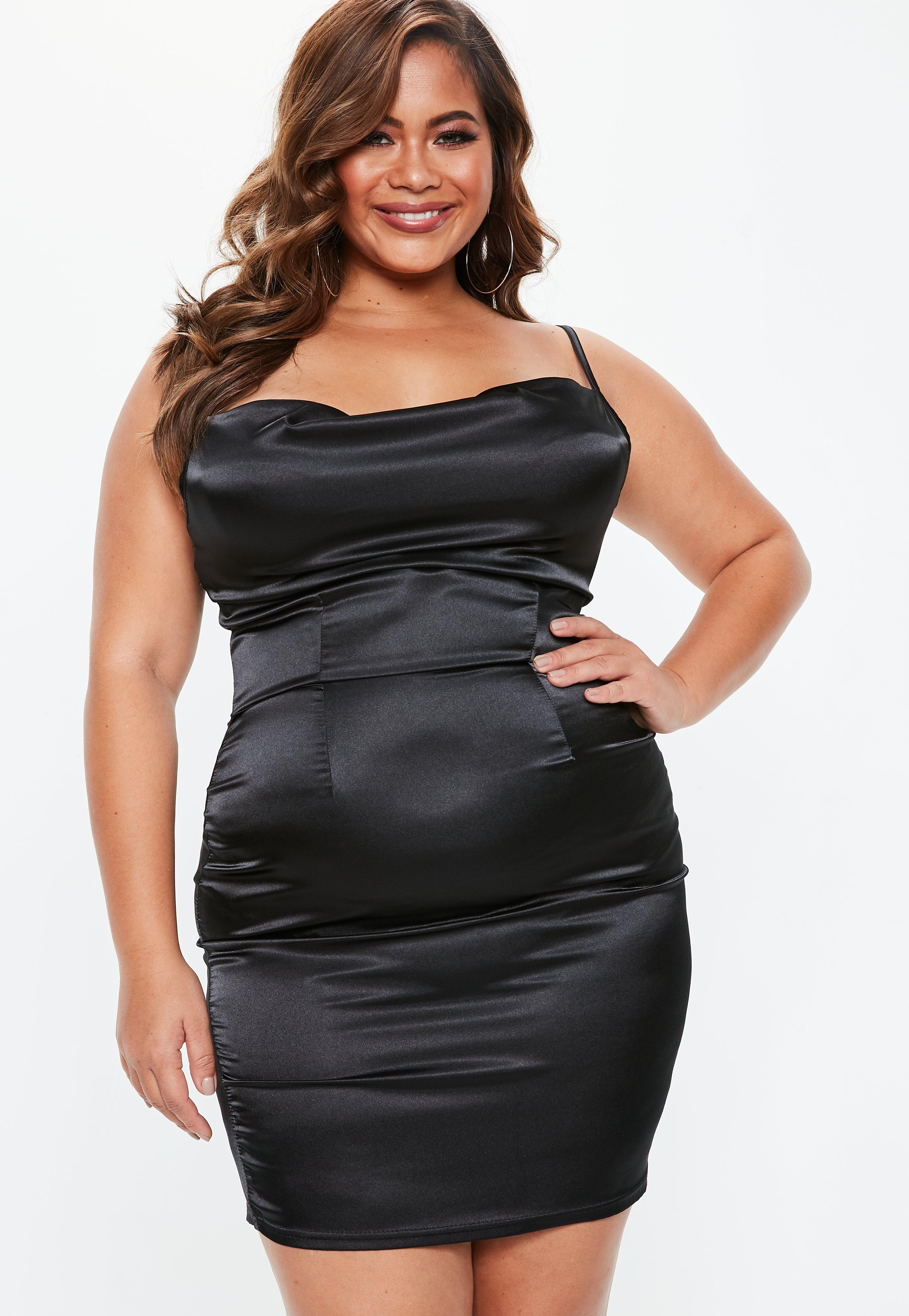 8bd7a16279f Lyst - Missguided Plus Size Black Satin Cowl Neck Dress in Black