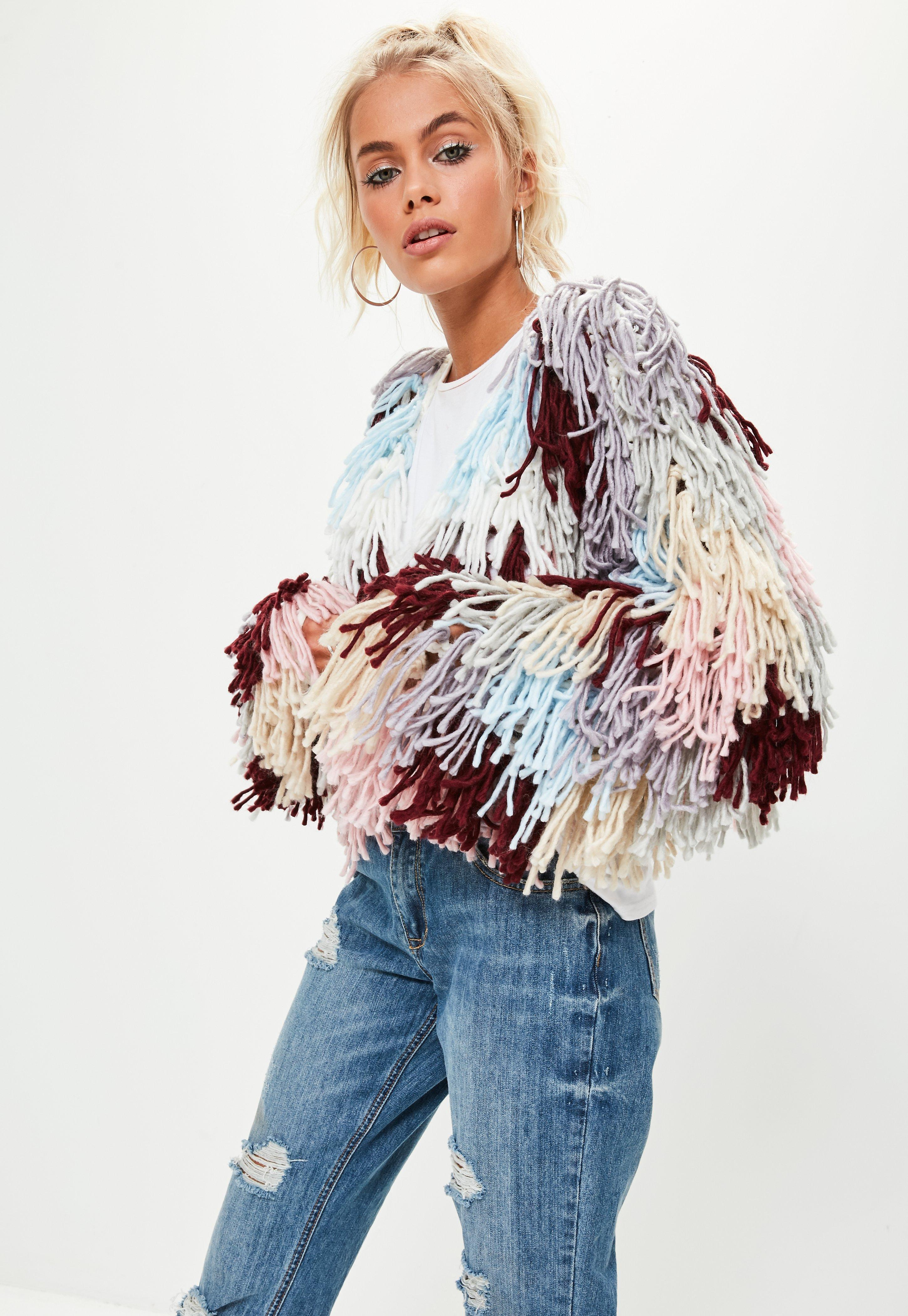 56bac4fbe Missguided Multi Shaggy Crop Knitted Cardigan in Blue - Lyst