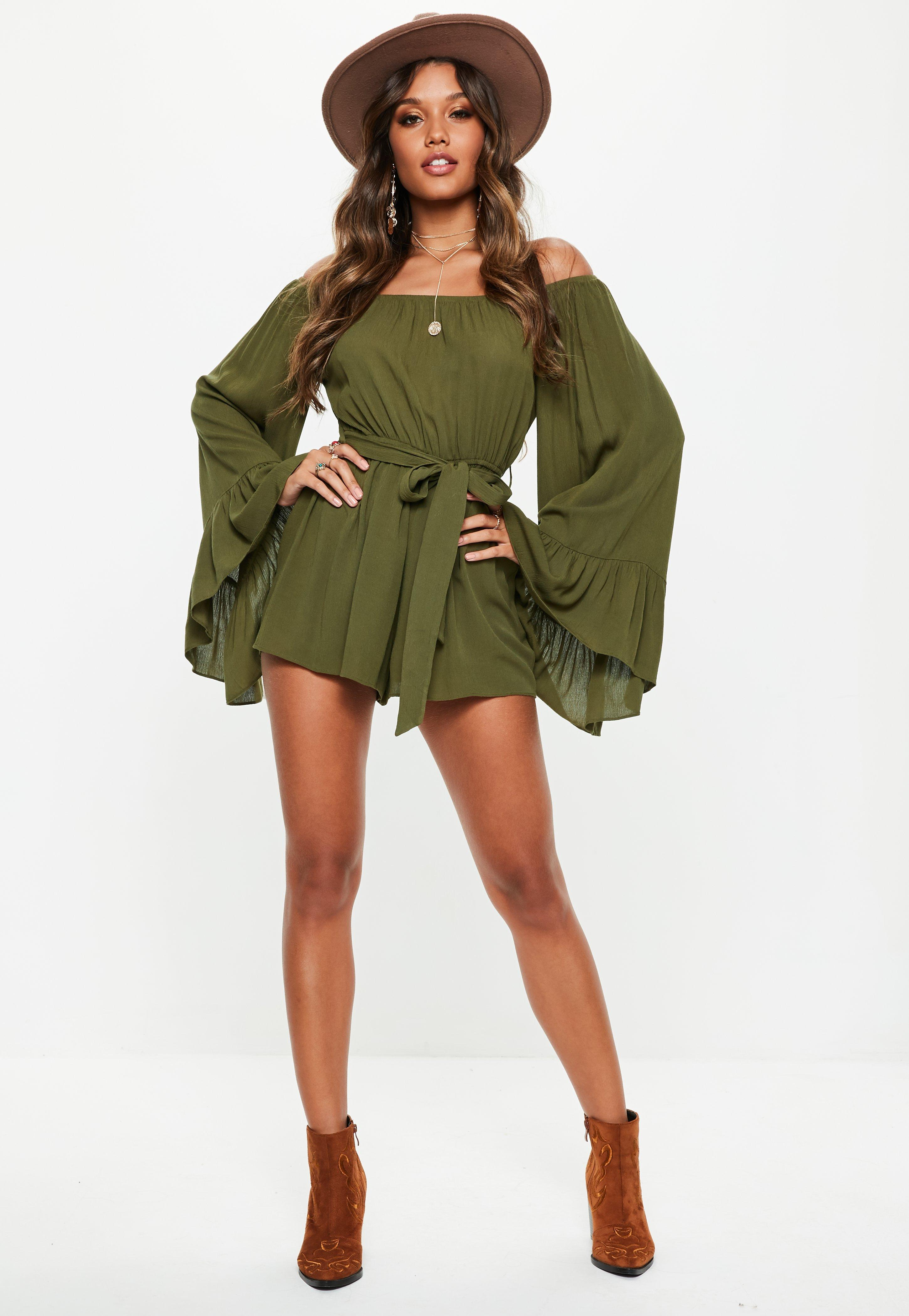 e51821ed012 Lyst - Missguided Khaki Flare Sleeve Bardot Playsuit in Green