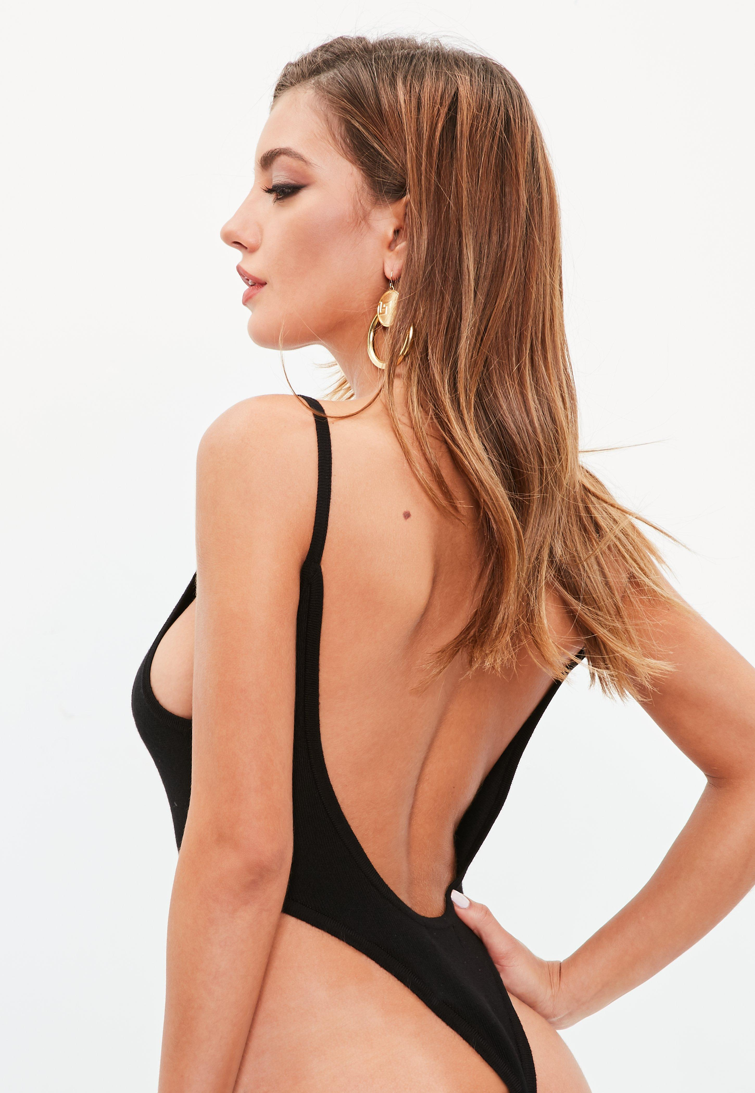 Lyst - Missguided Black Extreme High Leg Scoop Back Bodysuit in Black 446ced39a