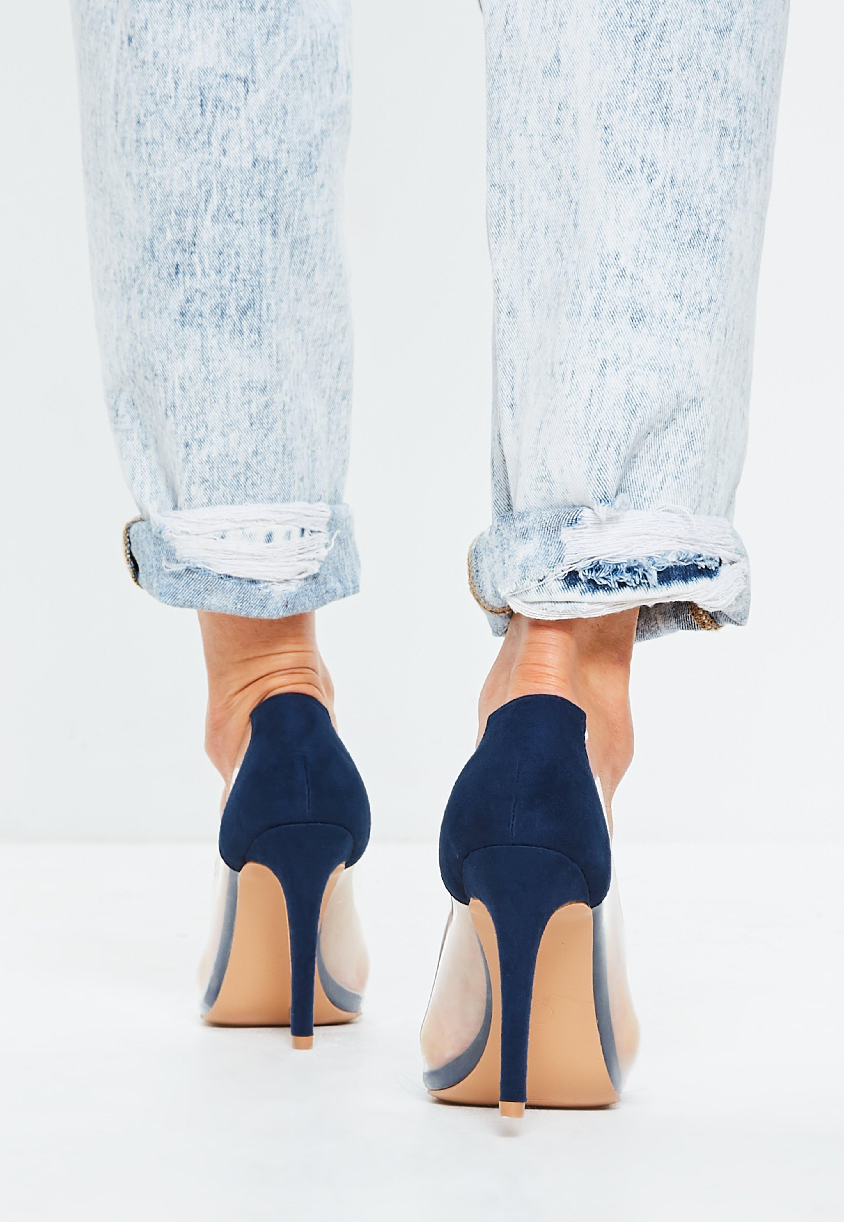 7bbba54ddce Missguided - Blue Covered Toe Clear Court Heels - Lyst. View fullscreen