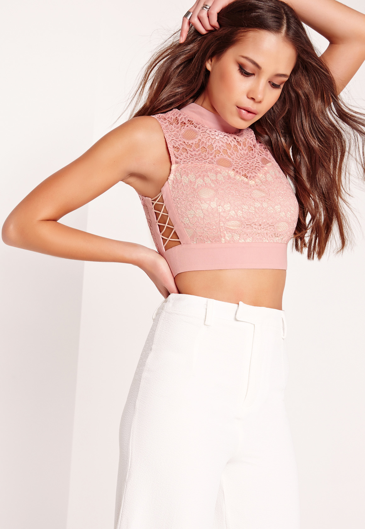 0638df1b5f3 Lyst - Missguided High Neck Lace Lattice Side Crop Top Pink in Pink