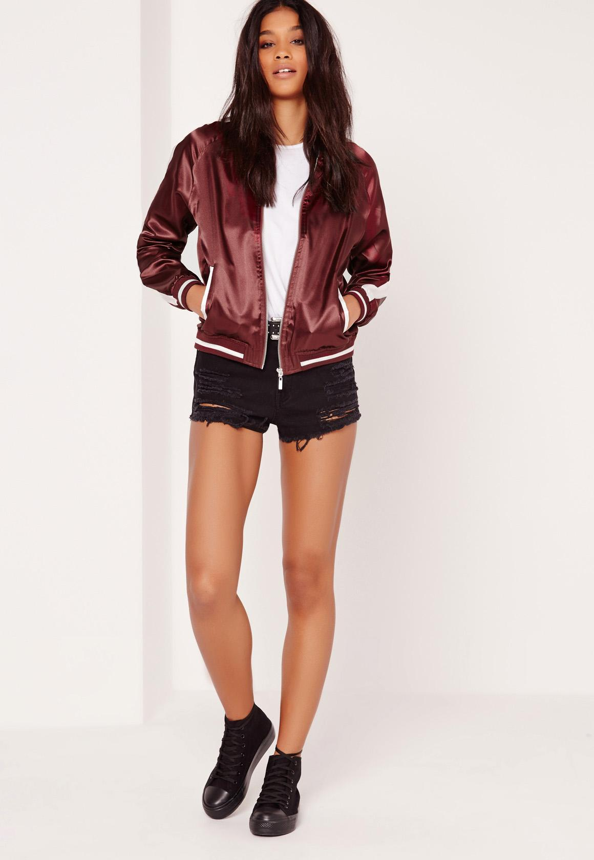missguided koi embroidered bomber jacket burgundy lyst