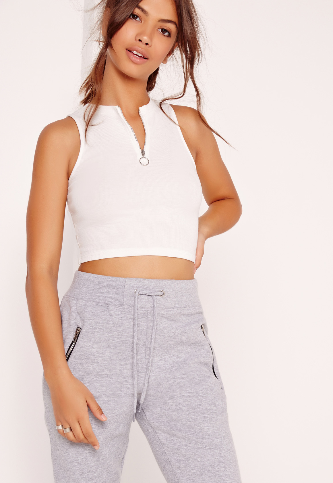 missguided ring pull zip crop top white in blue lyst. Black Bedroom Furniture Sets. Home Design Ideas