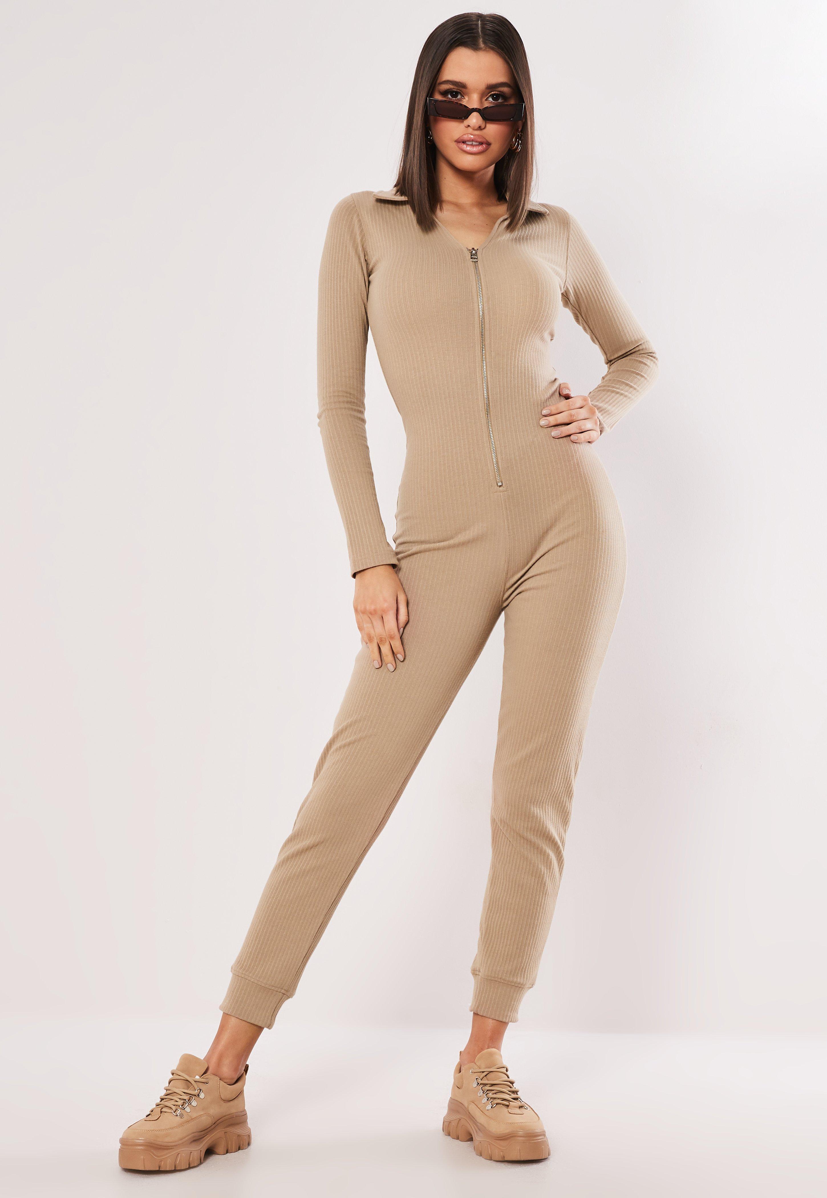 c8c51823de Missguided - Natural Camel Zip Collar Ribbed Jumpsuit - Lyst. View  fullscreen