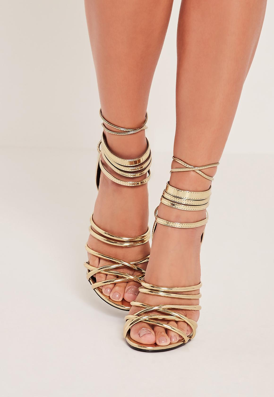 Missguided Metalic Heeled Strappy Gladiator Heels Gold In