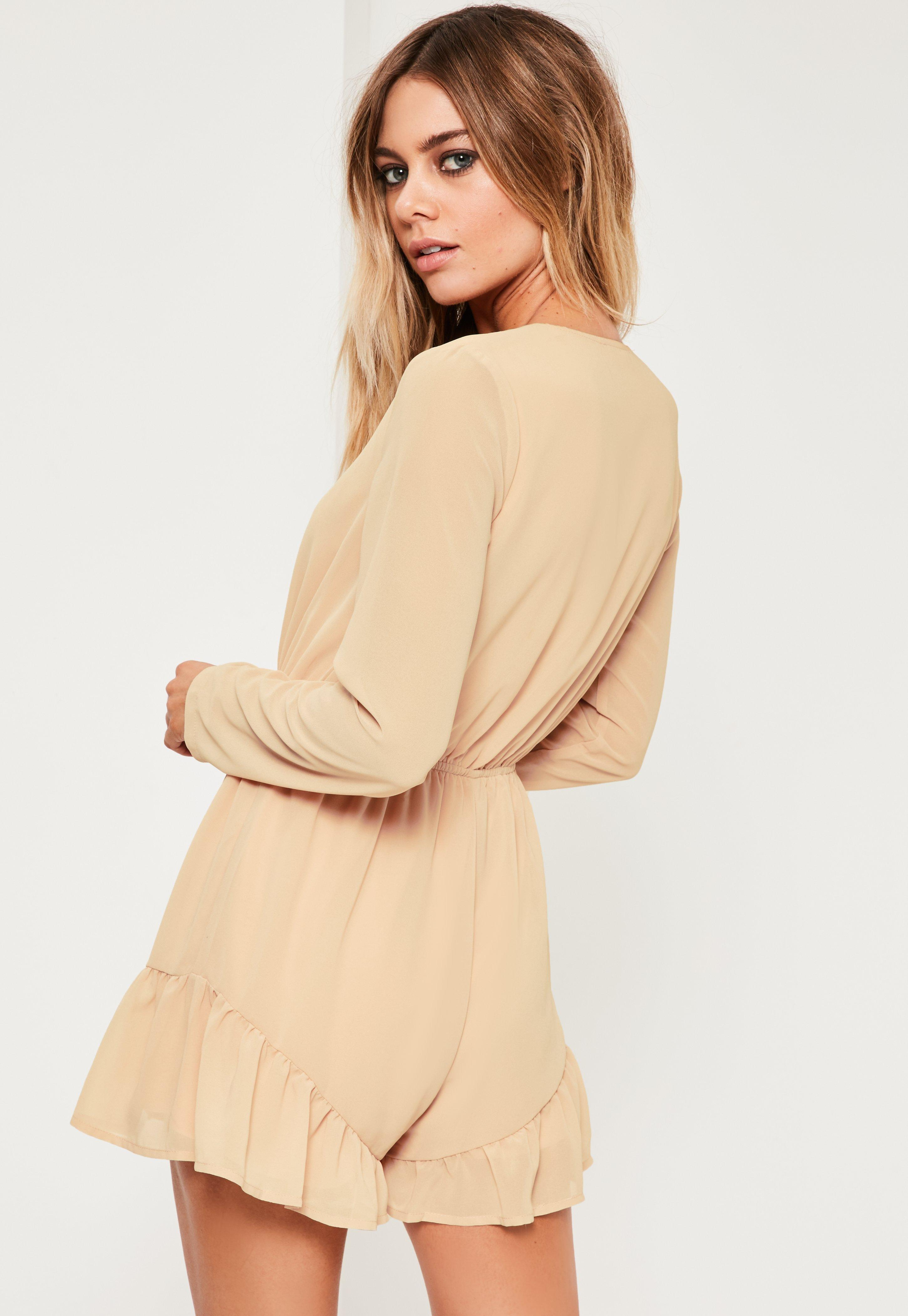 52abe0ebb12 Lyst - Missguided Nude Crepe Long Sleeve Flutter Short Playsuit in Blue
