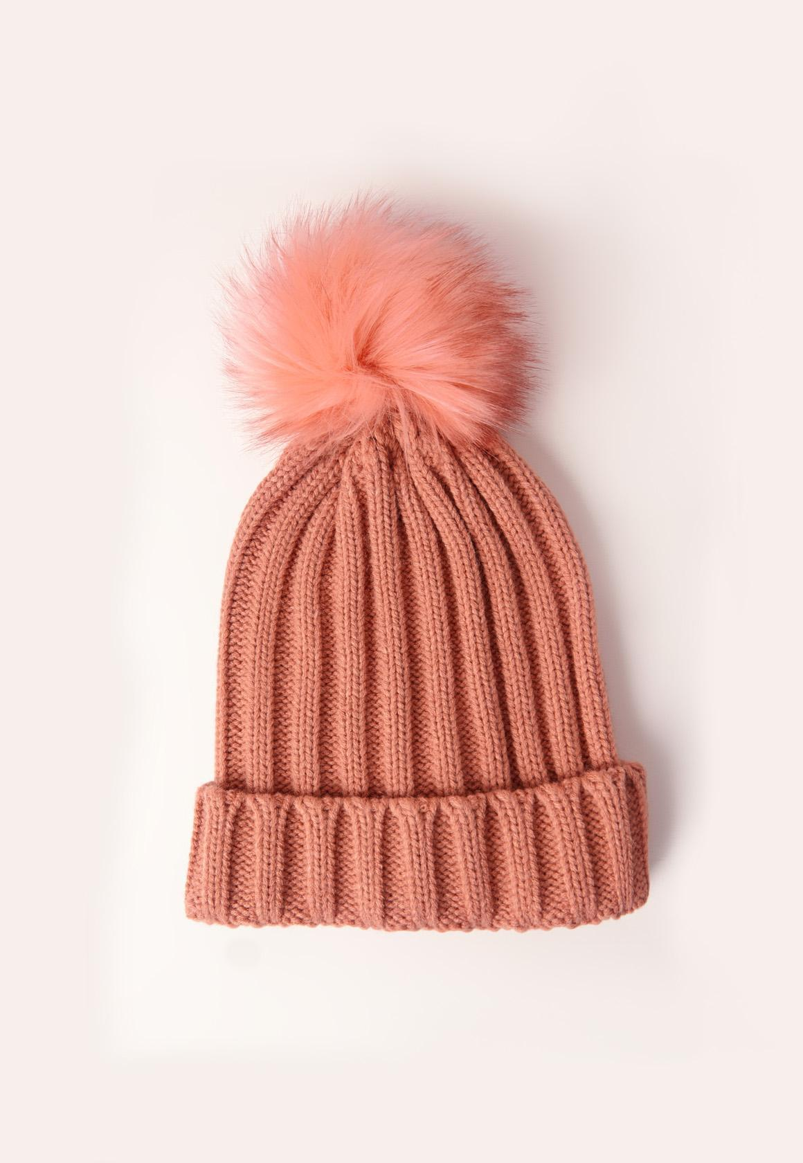 Lyst - Missguided Pink Faux Fur Pom Pom Beanie in Pink 0d0115a7f7de