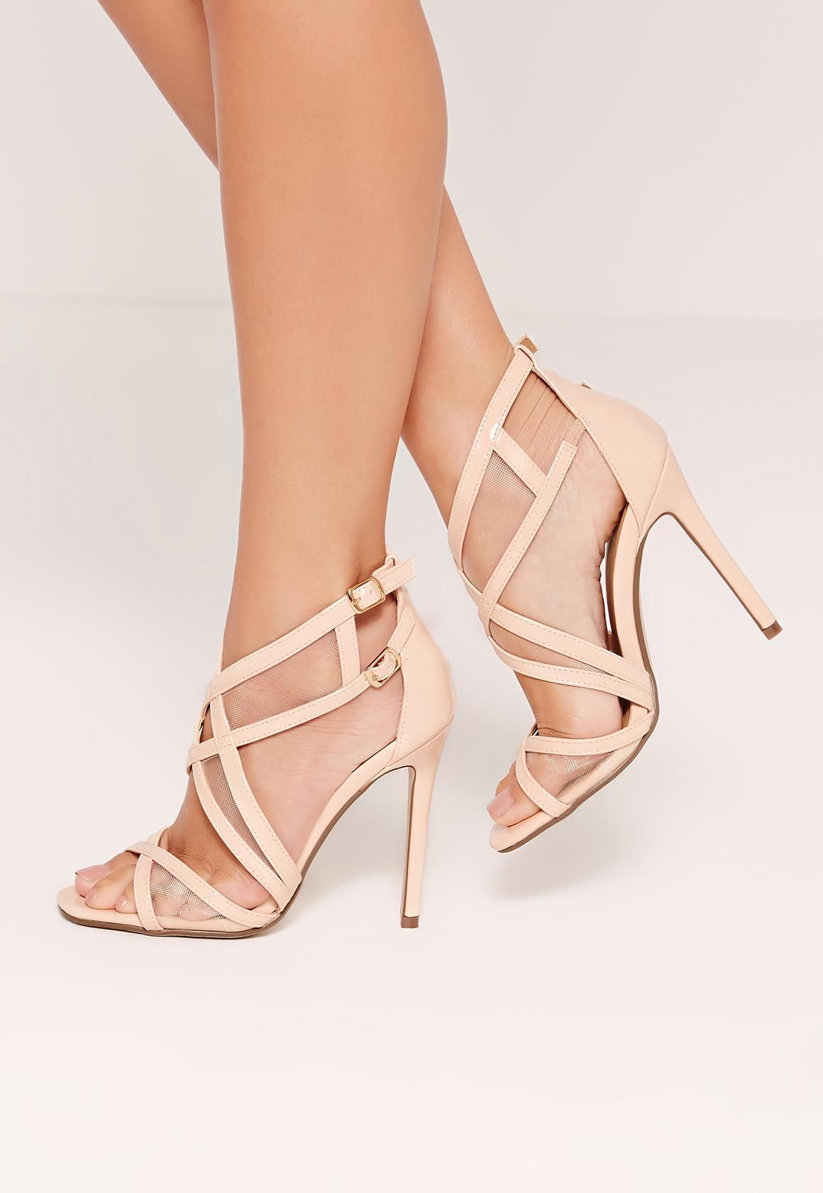 f12ac4d758 Lyst - Missguided Mesh Panelling Strappy Gladiator Heels Nude