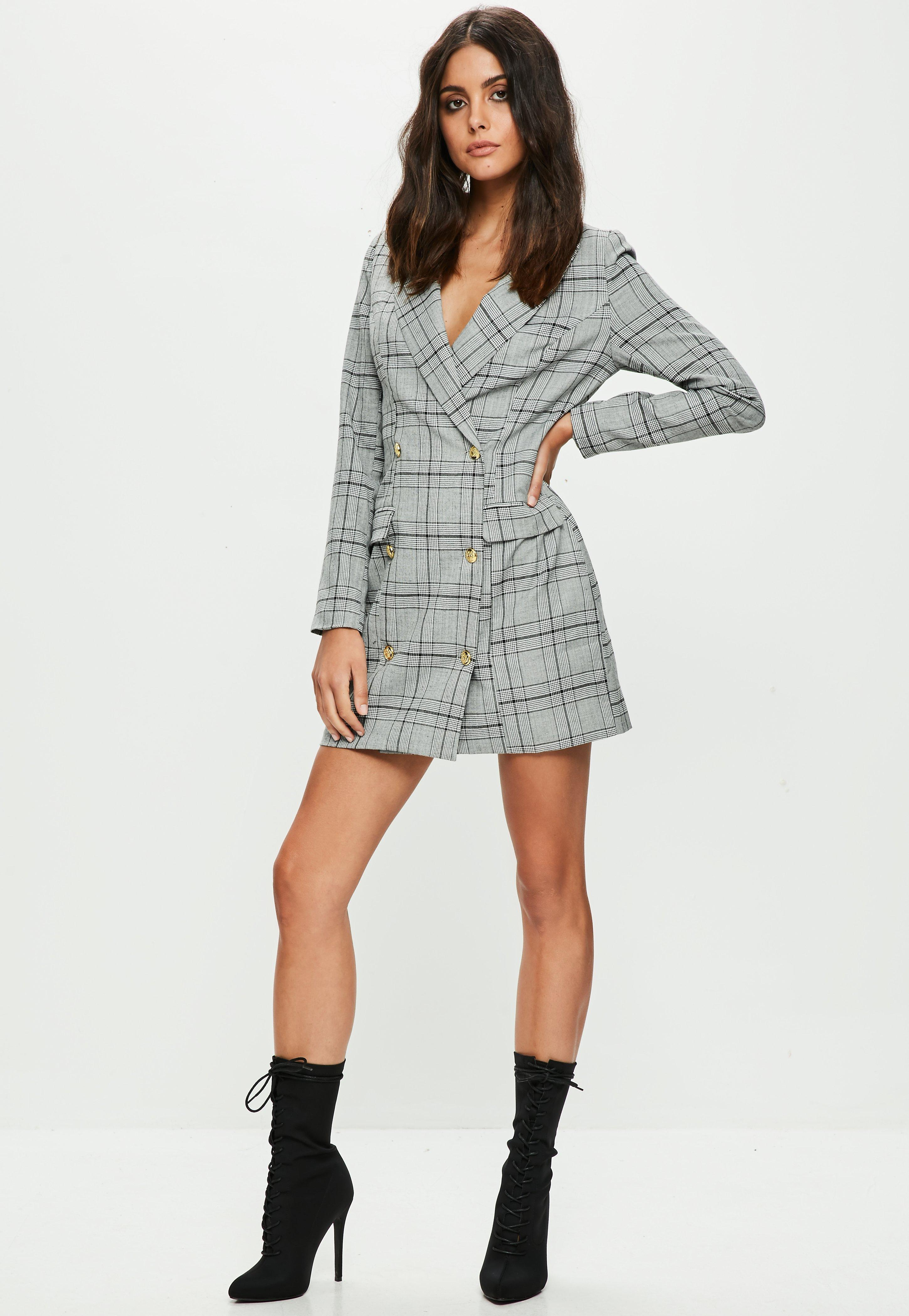 e7ca7ba288 Missguided Grey Checked Button Front Blazer Dress in Gray - Lyst