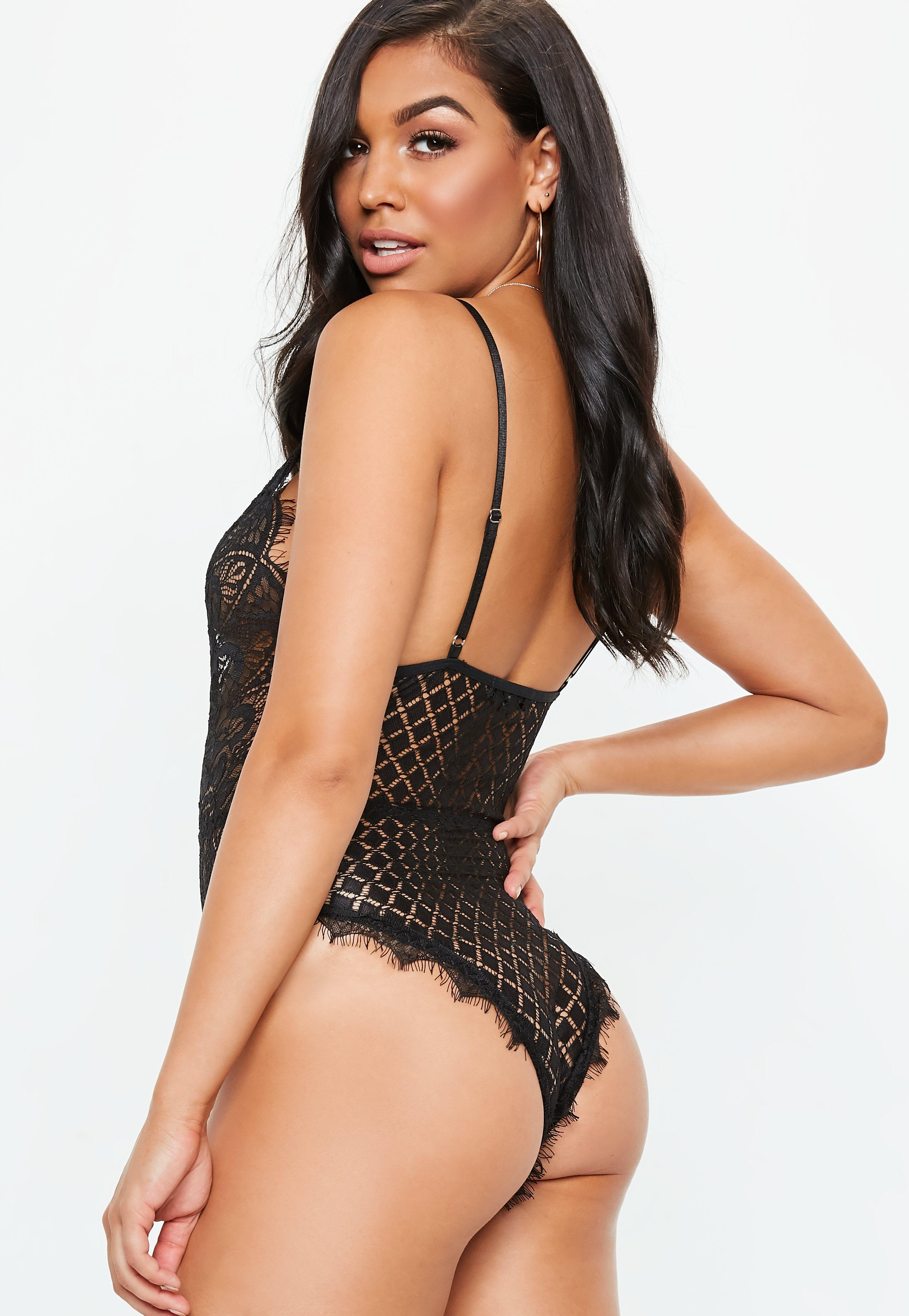 1049a40633 Lyst - Missguided Black All Over Eyelash Lace Bodysuit in Black