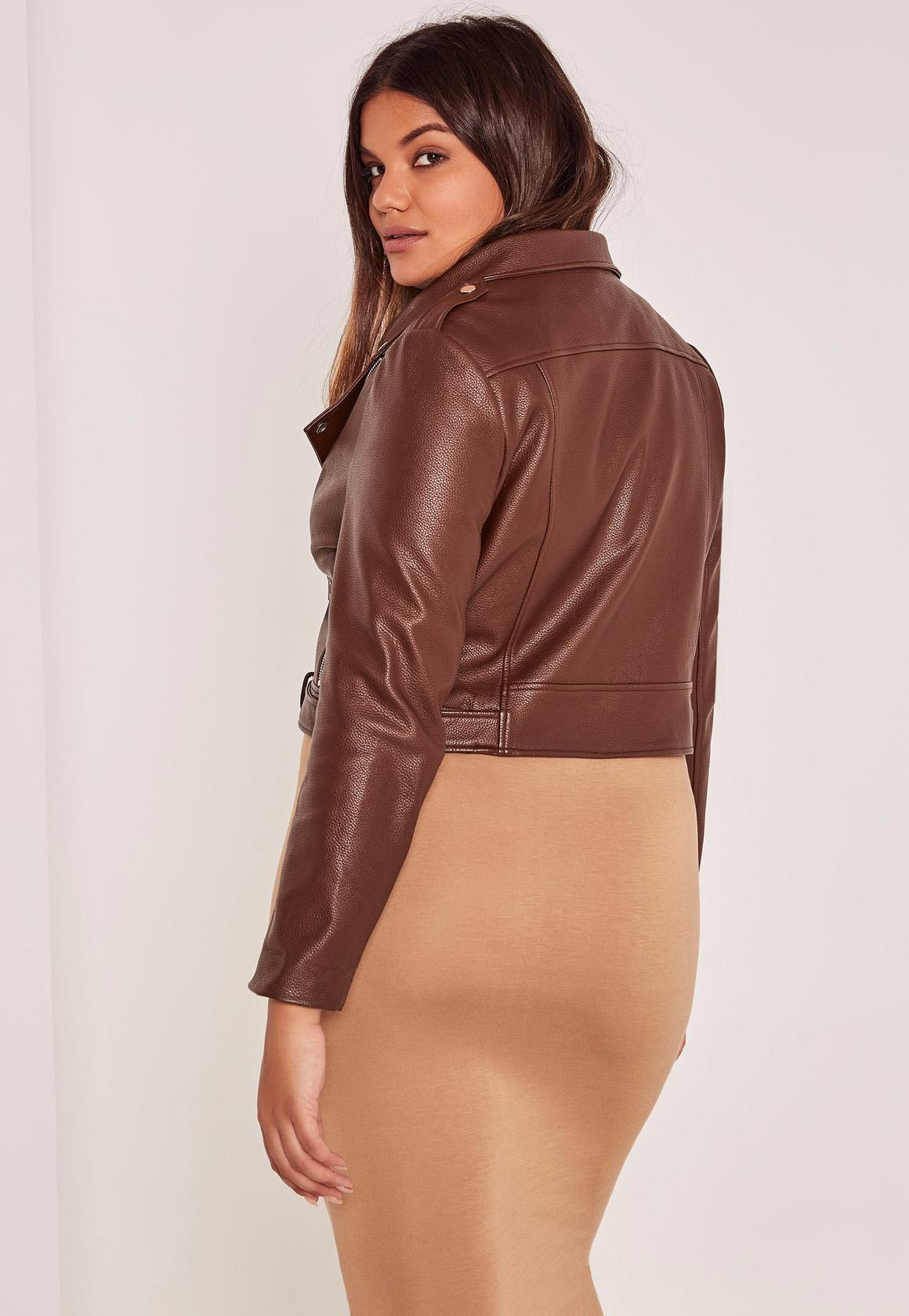 Lyst Missguided Plus Size Brown Faux Leather Biker