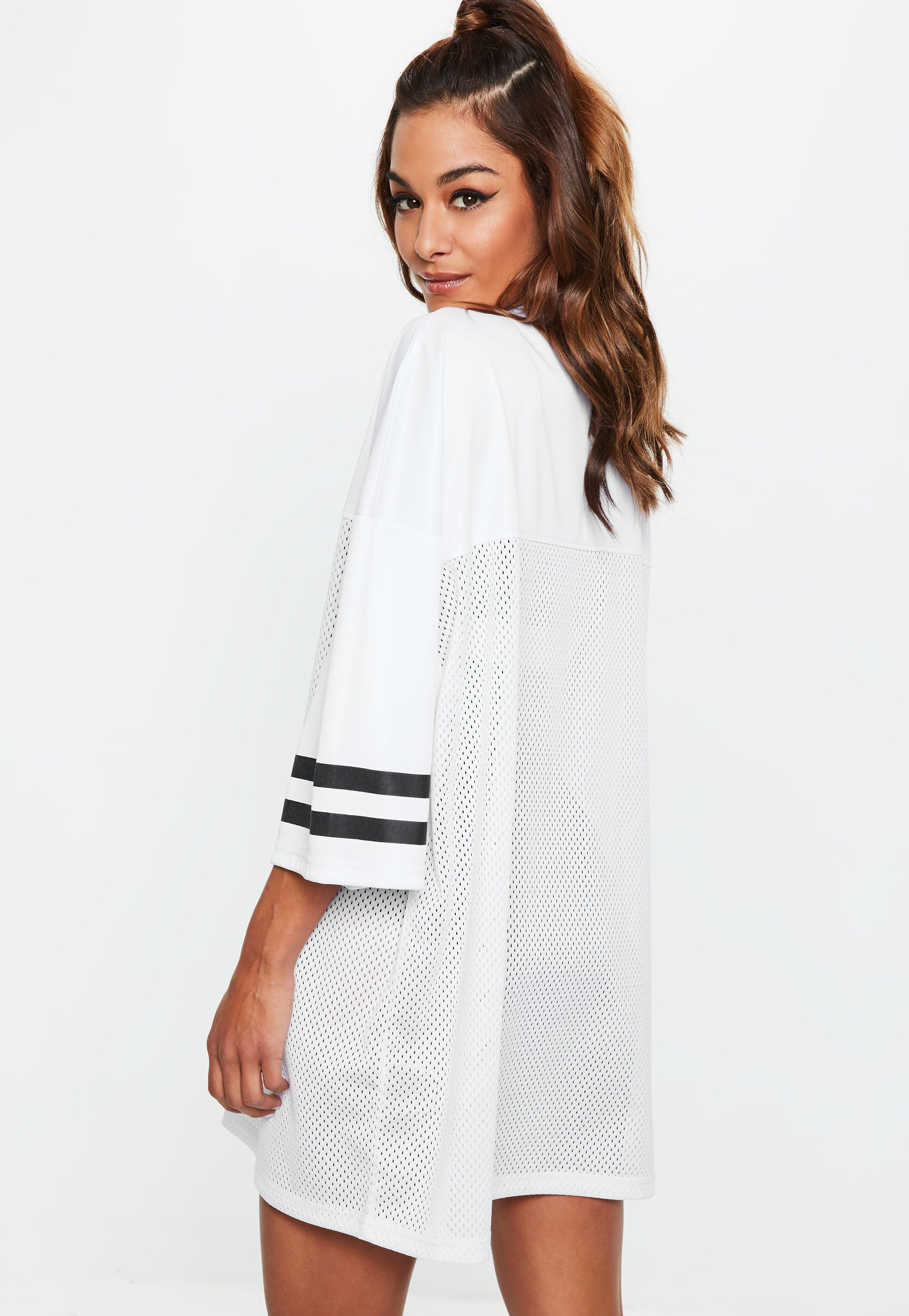 Lyst - Missguided White American Football Mesh Shirt Dress in White a35a5334b