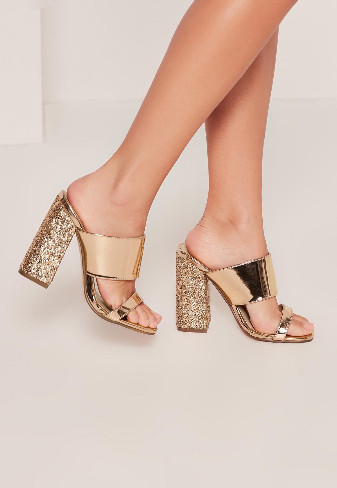 Missguided Gold Glitter Block Heel Mule Sandals In
