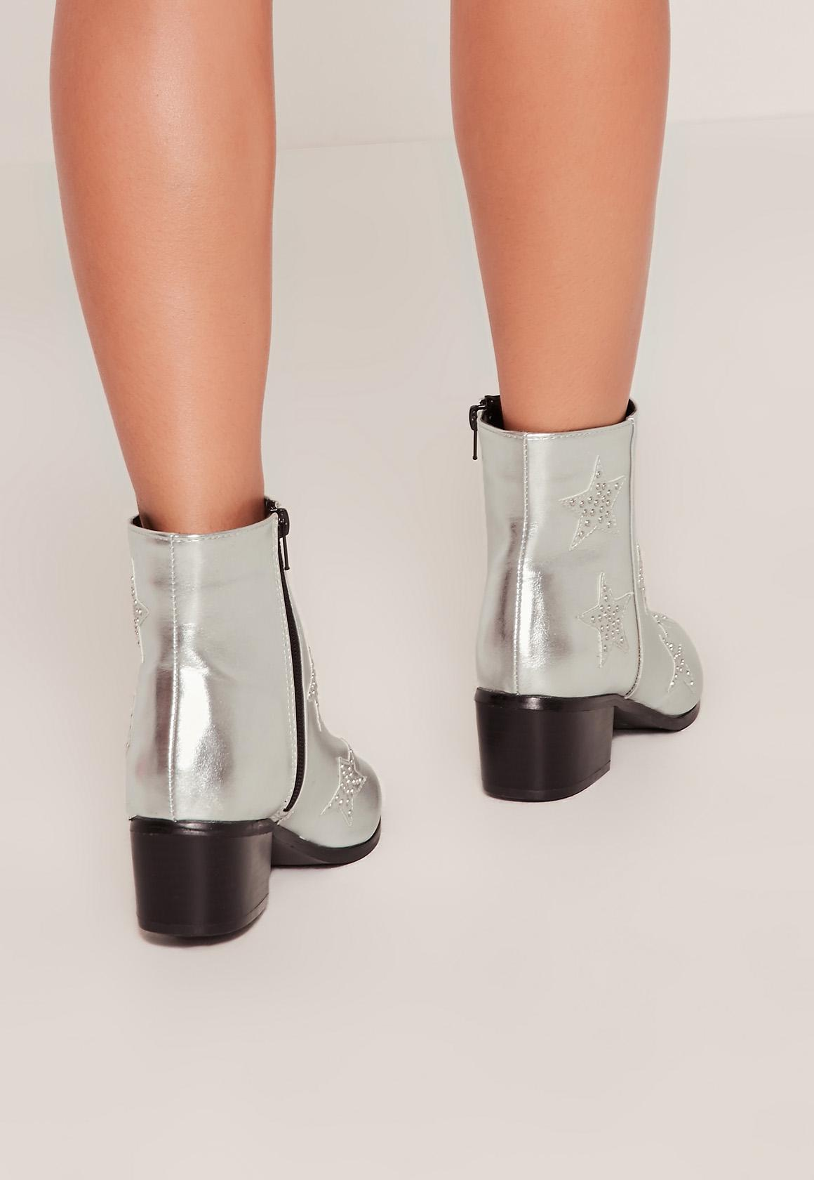 Missguided silver star studded ankle boots in metallic lyst - Missguided head office address ...