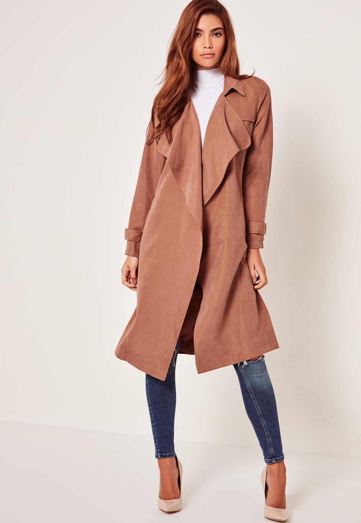 fb33ed20b7fa1 Lyst - Missguided Nude Lightweight Waterfall Duster Coat in Blue