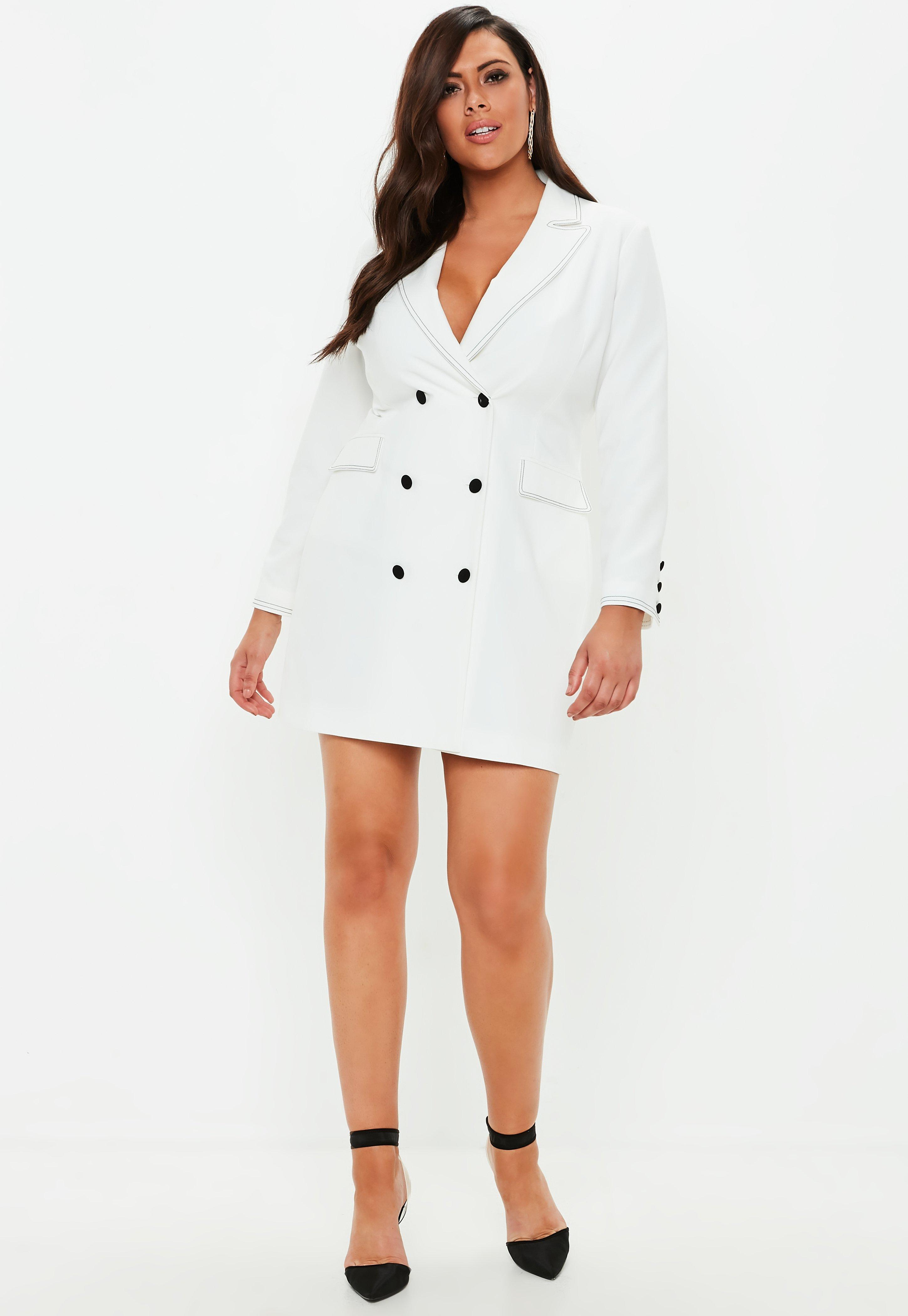 Lyst - Missguided Plus Size White Crepe Contrast Stitch Blazer Dress ...