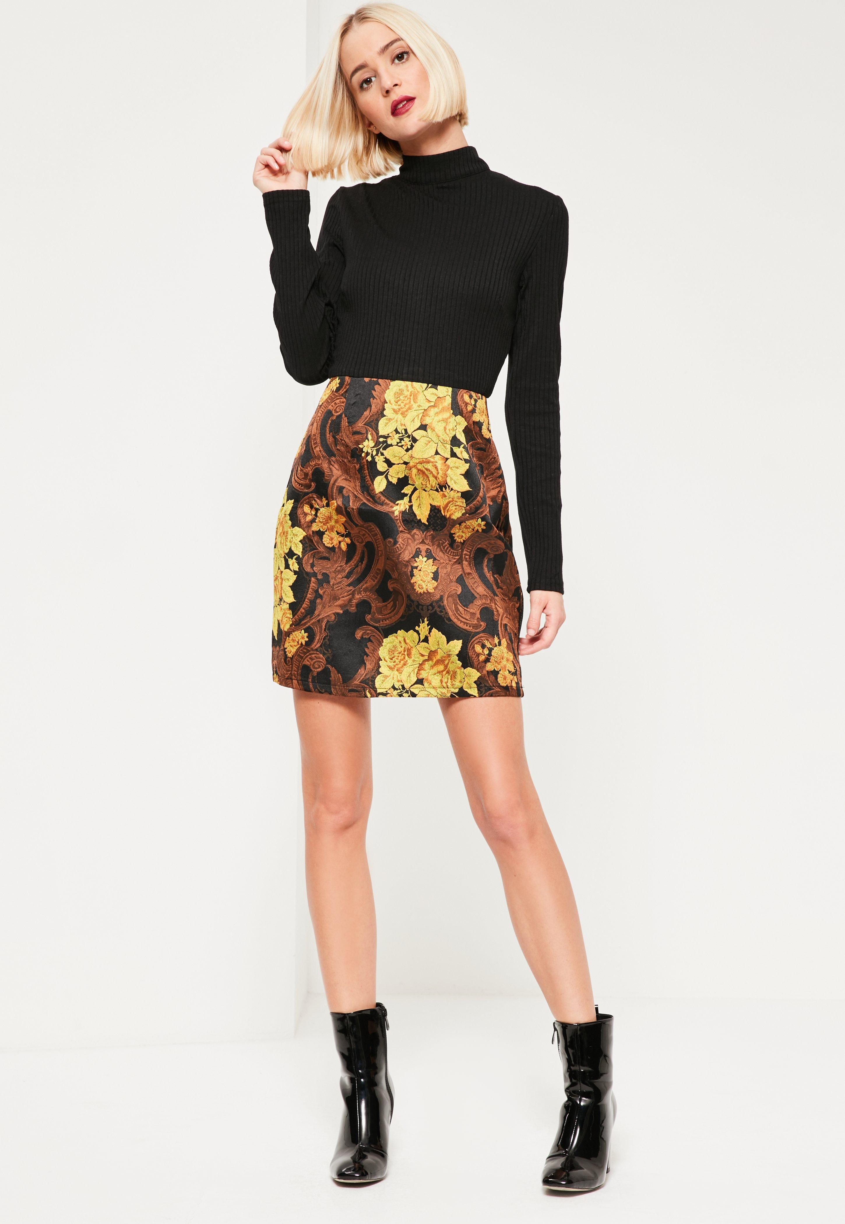 1f02f9d48ca972 Missguided Black Jacquard Skirt Ribbed 2 In 1 Dress in Black - Lyst