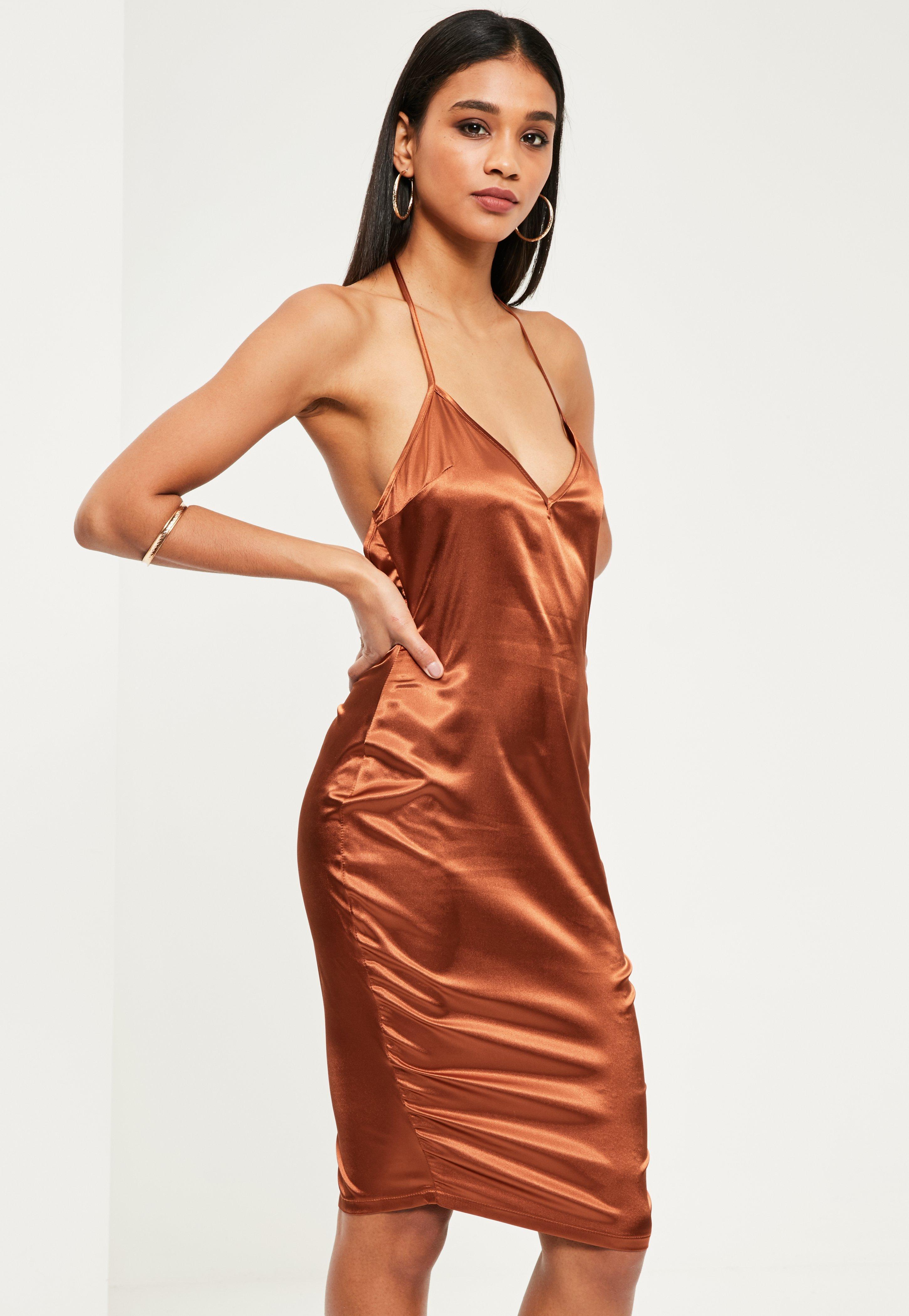790b002d57 Lyst - Missguided Bronze Silky Plunge Midi Shift Dress in Orange