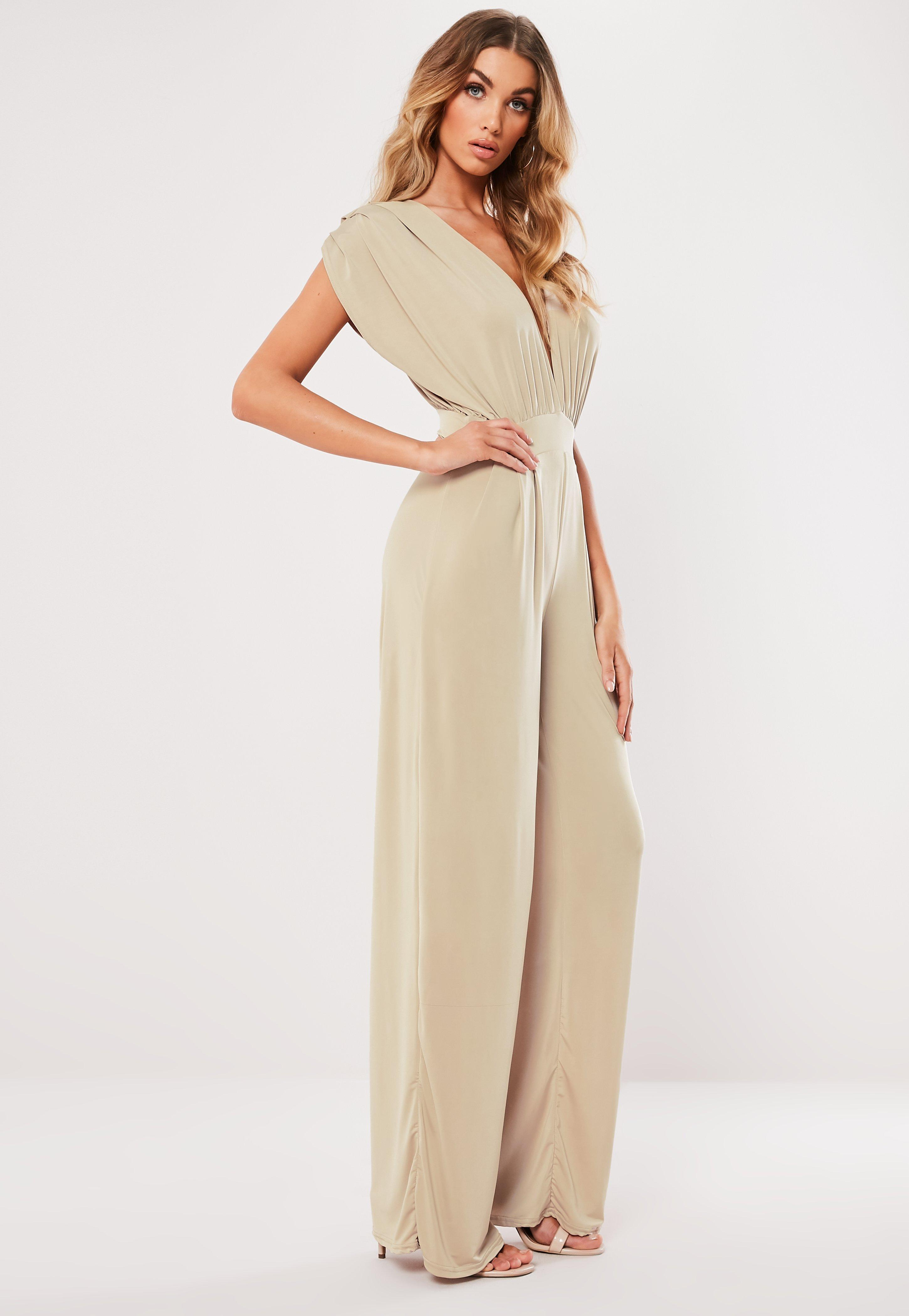 5c7de2b8b0 Lyst - Missguided Stone Slinky Plunge Jumpsuit in Natural