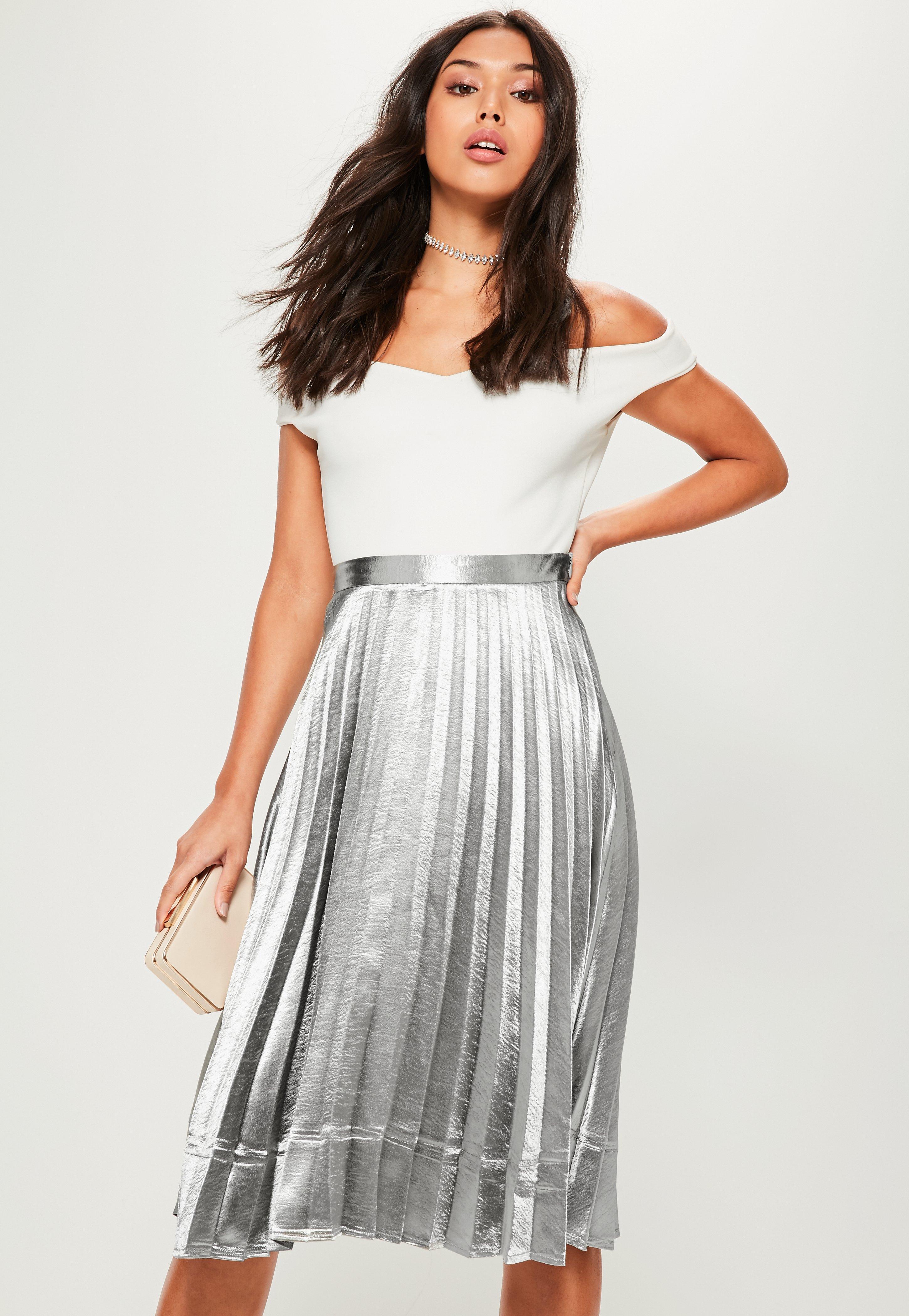 5d3364db72 Lyst - Missguided Silver Pleated Full Midi Skirt in Metallic